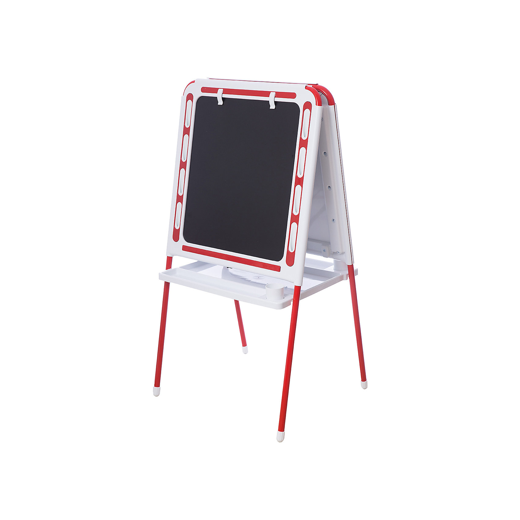 Красный мольбертКрасный мольберт – это мольберт с двумя рабочими поверхностями, предназначенный для детского творчества и развития.<br>Современный, функциональный и очень удобный мольберт - это универсальный уголок для рисования и обучения у вас дома. Двойная доска устанавливается «домиком» прямо на пол и не требует дополнительных креплений. На металлических ножках – пластмассовые заглушки. Мольберт спроектирован особым образом: он может  использоваться двумя детьми одновременно. С обеих сторон мольберта есть удобные зажимы для бумаги. В комплект входят два стаканчика для рисования, большая полка для альбомов и красок. Мольберт подходит для работы красками, мелом, карандашами и маркерами. Юный художник по достоинству оценит удобные пазы-подставки для канцелярских принадлежностей, расположенные прямо на рамке мольберта, слева и справа от его рабочей поверхности. Углы мольберта скруглены для снижения травматичности ребенка.<br><br>Дополнительная информация:<br><br>- В комплекте: мольберт, два стаканчика для рисования, полка<br>- Цвет: белый, красный<br>- Материал: пластик, металл<br>- Размер: 100,5х48 см.<br>- Размер упаковки: 112х55х70 см.<br>- Вес: 14,2 кг.<br><br>Красный мольберт можно купить в нашем интернет-магазине.<br><br>Ширина мм: 1220<br>Глубина мм: 650<br>Высота мм: 110<br>Вес г: 14200<br>Возраст от месяцев: -2147483648<br>Возраст до месяцев: 2147483647<br>Пол: Унисекс<br>Возраст: Детский<br>SKU: 4589686