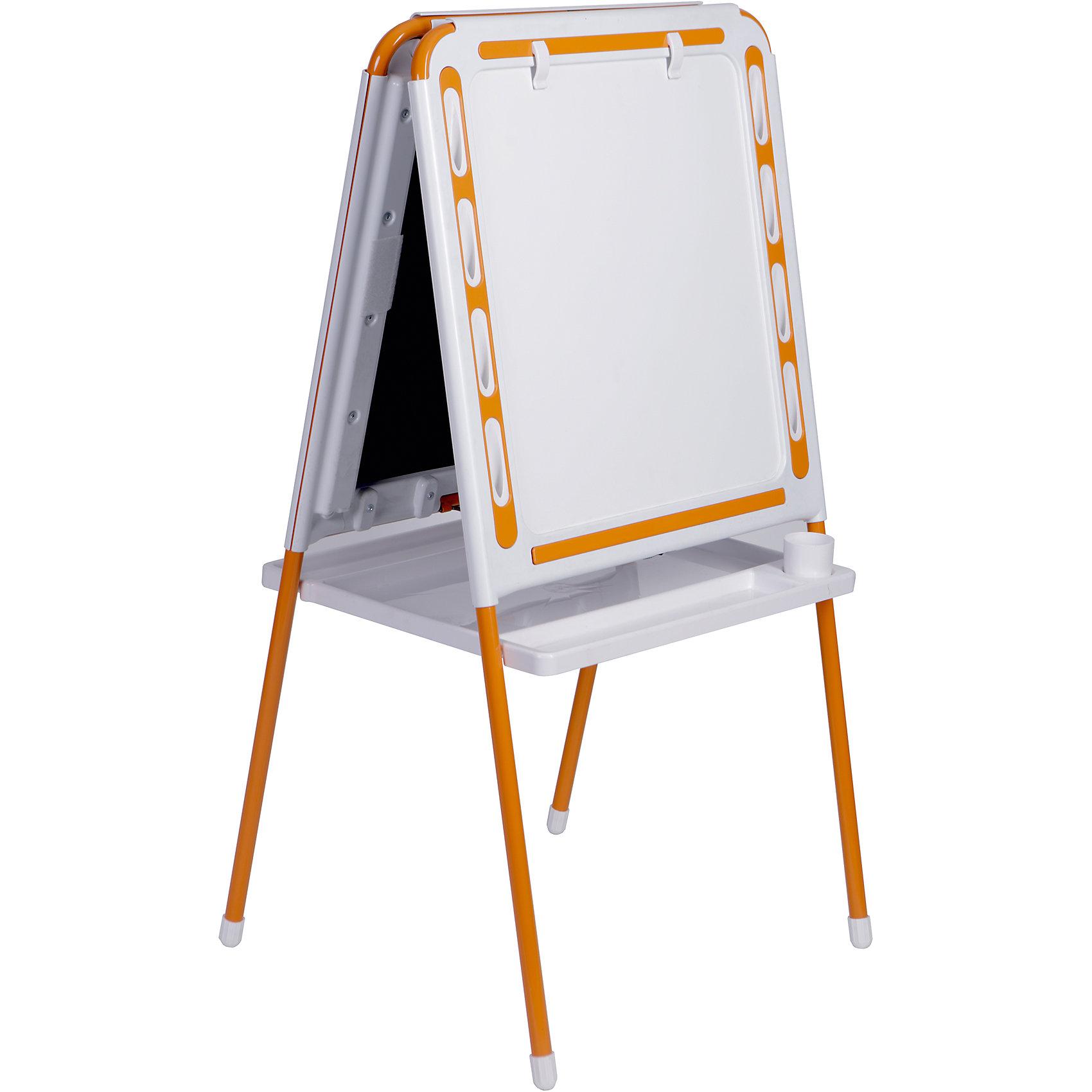 Оранжевый мольбертОранжевый мольберт – это мольберт с двумя рабочими поверхностями, предназначенный для детского творчества и развития.<br>Современный, функциональный и очень удобный мольберт - это универсальный уголок для рисования и обучения у вас дома. Двойная доска устанавливается «домиком» прямо на пол и не требует дополнительных креплений. На металлических ножках – пластмассовые заглушки. Мольберт спроектирован особым образом: он может  использоваться двумя детьми одновременно. С обеих сторон мольберта есть удобные зажимы для бумаги. В комплект входят два стаканчика для рисования, большая полка для альбомов и красок. Мольберт подходит для работы красками, мелом, карандашами и маркерами. Юный художник по достоинству оценит удобные пазы-подставки для канцелярских принадлежностей, расположенные прямо на рамке мольберта, слева и справа от его рабочей поверхности. Углы мольберта скруглены для снижения травматичности ребенка.<br><br>Дополнительная информация:<br><br>- В комплекте: мольберт, два стаканчика для рисования, полка<br>- Цвет: белый, оранжевый<br>- Материал: пластик, металл<br>- Размер: 100,5х48 см.<br>- Размер упаковки: 112х55х70 см.<br>- Вес: 14,2 кг.<br><br>Оранжевый мольберт можно купить в нашем интернет-магазине.<br><br>Ширина мм: 1220<br>Глубина мм: 650<br>Высота мм: 110<br>Вес г: 14200<br>Возраст от месяцев: -2147483648<br>Возраст до месяцев: 2147483647<br>Пол: Унисекс<br>Возраст: Детский<br>SKU: 4589687