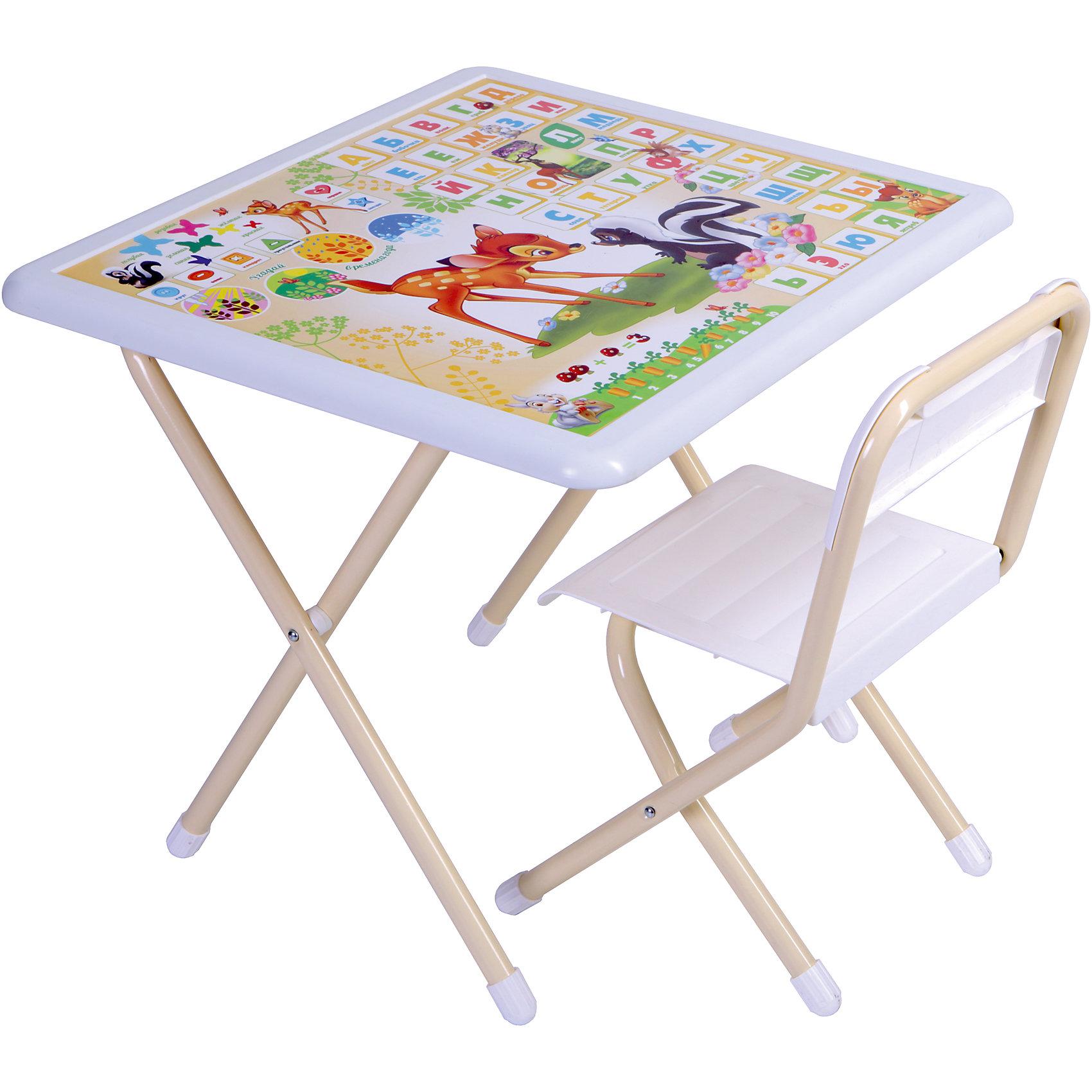 Набор мебели БэмбиНабор мебели Бэмби – это полностью оборудованное место для творчества и занятий вашего малыша.<br>Набор складной детской мебели Бэмби предназначен для детей от 1,5 до 7 лет. Ее легко развернуть и так же легко убрать. Чтобы свернуть рабочее место, нужно всего лишь сложить ножки стола и стула – и поместить набор вдоль стены или в шкаф. Мебель сделана из пластика (столешница, спинка, сиденье) и металла (ножки). По периметру столешницы расположен пластмассовый бампер с закругленными углами, который обеспечивает комфорт и безопасность во время работы. На ножках стола и стула – пластмассовые заглушки. Мебель спроектирована при участии врачей-ортопедов, поэтому занятия для ребенка проходят с комфортом. Он держит спину ровно и правильно распределяет нагрузку на позвоночник благодаря слегка отклоненной спинке стула. Расстояние от глаз до учебных материалов на столе также является оптимальным. На столешнице красуются не только главные герои мультфильма «Бэмби», но и веселые развивающие шпаргалки! Ребенок изучит алфавит и цифры, познакомится с геометрическими фигурами и цветами, временами года. Набор мебели обеспечит вашему ребенку занятия учебой и творчеством в наиболее удобной обстановке. Можно использовать как место для кормления.<br><br>Дополнительная информация:<br><br>- В комплекте: стол, стул, руководство по эксплуатации<br>- Комплект предназначен для детей ростом 115-130 см.<br>- Максимальная нагрузка на стул: 30 кг.<br>- Материал: пластик, металл<br>- Цвет: белый<br>- Размер столешницы: 650х555 мм.<br>- Высота от пола: 515 мм.<br>- Размер сиденья стула: 340х360 мм.<br>- Высота сиденья от пола: 345 мм.<br>- Упаковка: картонная коробка<br>- Размер упаковки: 150х740х650 мм.<br>- Вес: 7,7 кг.<br><br>Набор мебели Бэмби можно купить в нашем интернет-магазине.<br><br>Ширина мм: 74<br>Глубина мм: 64<br>Высота мм: 15<br>Вес г: 7500<br>Возраст от месяцев: -2147483648<br>Возраст до месяцев: 2147483647<br>Пол: Унисекс<br>Возраст: Детский<br>SKU: 4589689