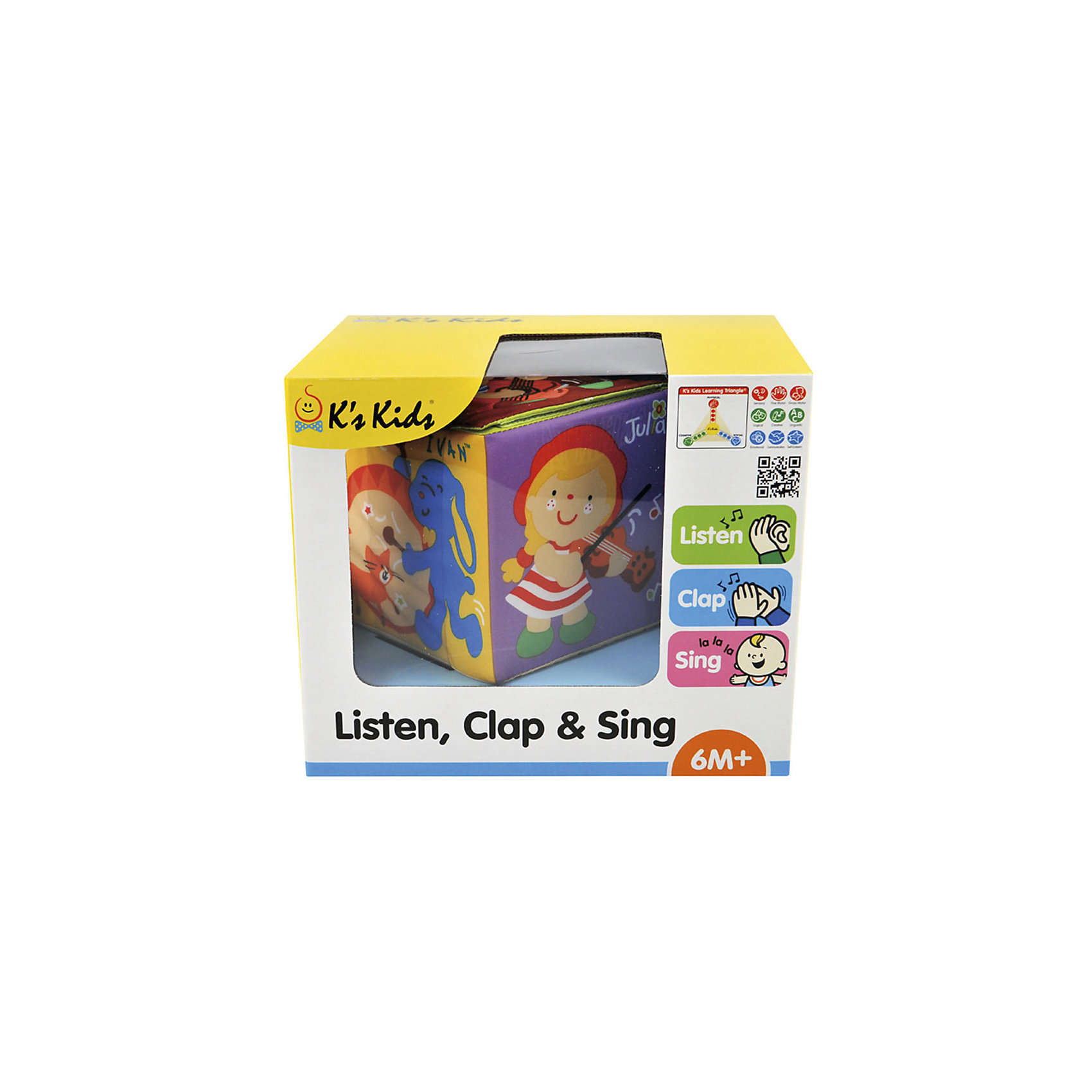Музыкальный кубик, Ks KidsРазвивающие игрушки<br>Развивающие игрушки для новорожденных KS Kids – отличный подарок для любого малыша! Разработанные при участии специалистов по детскому развитию, все наборы KS Kids помогают самым маленьким деткам познавать окружающий мир увлекательно, быстро и безопасно.<br>«Музыкальный кубик» - интерактивная развивающая игрушка. Она будет веселить вашего малыша своими яркими картинками с героями Ks Kids и развлекать веселыми мелодиями. Вручную вы выбираете один из трех режимов: задорная музыка, ритм или песенка. Затем бросаете кубик вверх и ждете, на какую сторону он упадет. На каждой стороне кубика изображены герои с разными инструментами, какой стороной кубик соприкоснется с поверхностью, тот музыкальный инструмент и будет звучать. Вам остается лишь выбрать, что делать вместе с малышом прямо сейчас – танцевать, петь или разучивать ритмы, хлопая в ладошки. Развивайте у вашего ребенка внимание, память и слух вместе с музыкальным кубиком! Игрушка изготовлена из высококачественных экологичных материалов абсолютно безопасных даже для самых маленьких детей. <br><br>Дополнительная информация:<br><br>- Материал: текстиль (35% хлопок/65% ПЭ).<br>- Размер: 12 х 12 х 12 см.<br>- Элемент питания: 2 батарейки АА (в комплекте).<br>- 3 режима: музыка, пение, ритм. <br><br>Музыкальный кубик, Ks Kids, можно купить в нашем магазине.<br><br>Ширина мм: 230<br>Глубина мм: 190<br>Высота мм: 170<br>Вес г: 478<br>Возраст от месяцев: 0<br>Возраст до месяцев: 12<br>Пол: Унисекс<br>Возраст: Детский<br>SKU: 4589899