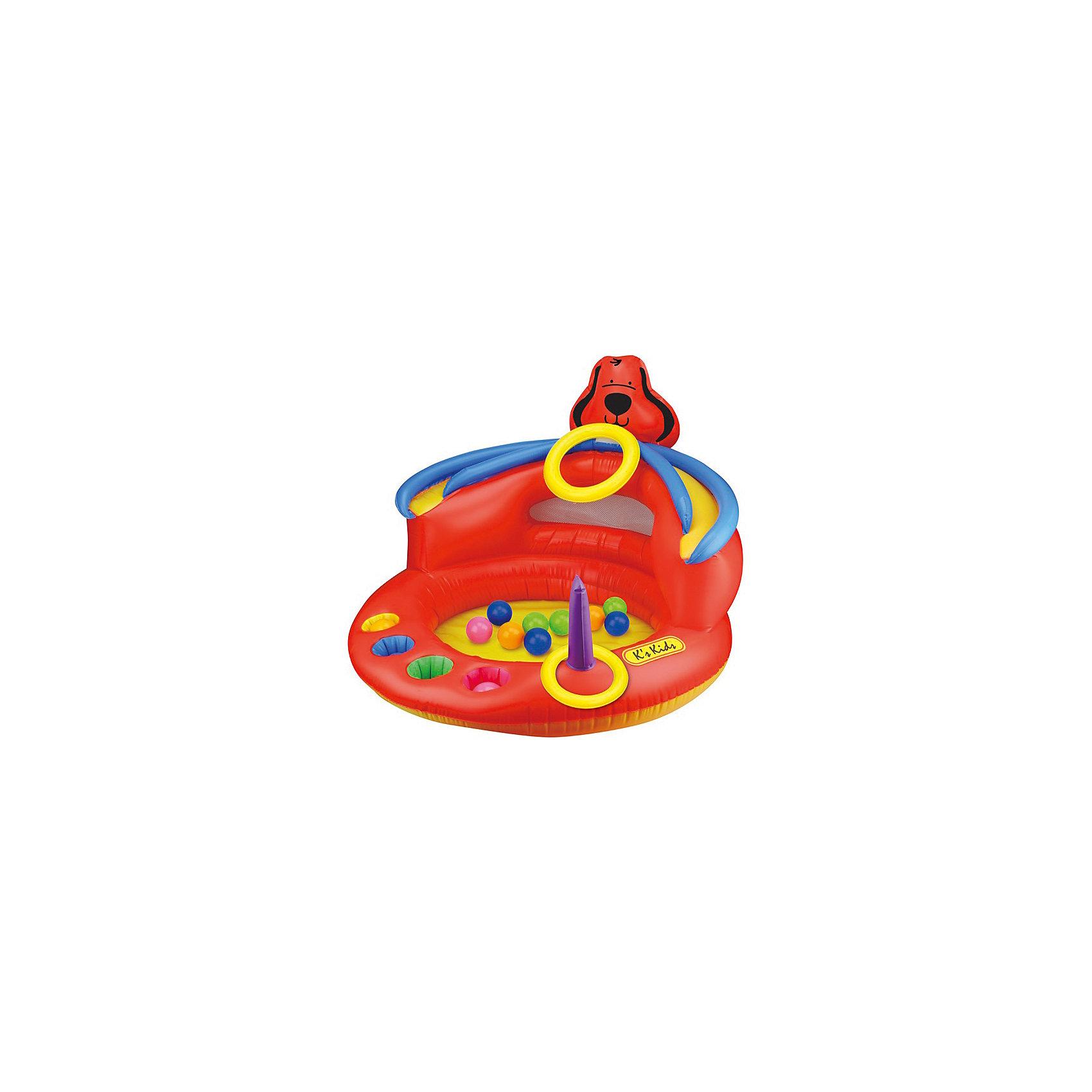Сухой игровой бассейн Патрик, Ks KidsСухой игровой бассейн «Патрик» станет отличным игровым комплексом для малыша. Надувной бассейн с одной стороны имеет высокую стену, на нее прикреплено кольцо.<br>В него можно бросать мячики разных цветов, которые падают вниз на площадку и не выкатываются. Эти шарики могут попасть в специальные отверстия, так же ребенок с расстояния может попадать в эти же отверстия шариками такого же цвета. С одной стороны плоскости бассейна установлен штырь для кидания колец. Ребенок может играть, попадая в кольцо или воронку, называя цвета и кидая кольца на штырь.<br>Веселая игрушка от K'S Kids надолго займет внимание ребенка и поможет ему научиться быть метким и внимательным. Яркие цвета игрушки обязательно привлекут внимание малышей и помогут развить зрительное восприятие.<br>Игрушка изготовлена из высококачественных экологичных материалов абсолютно безопасных даже для самых маленьких детей. <br><br>Дополнительная информация:<br><br>- Материал: ПВХ.<br>- Размер: 60х93х93 см <br>- Комплектация: бассейн с головой собачки наверху, кольцо, разноцветные мячики.<br><br>Сухой игровой бассейн Патрик, Ks Kids, можно купить в нашем магазине.<br><br>Ширина мм: 498<br>Глубина мм: 370<br>Высота мм: 123<br>Вес г: 1783<br>Возраст от месяцев: 12<br>Возраст до месяцев: 36<br>Пол: Унисекс<br>Возраст: Детский<br>SKU: 4589900