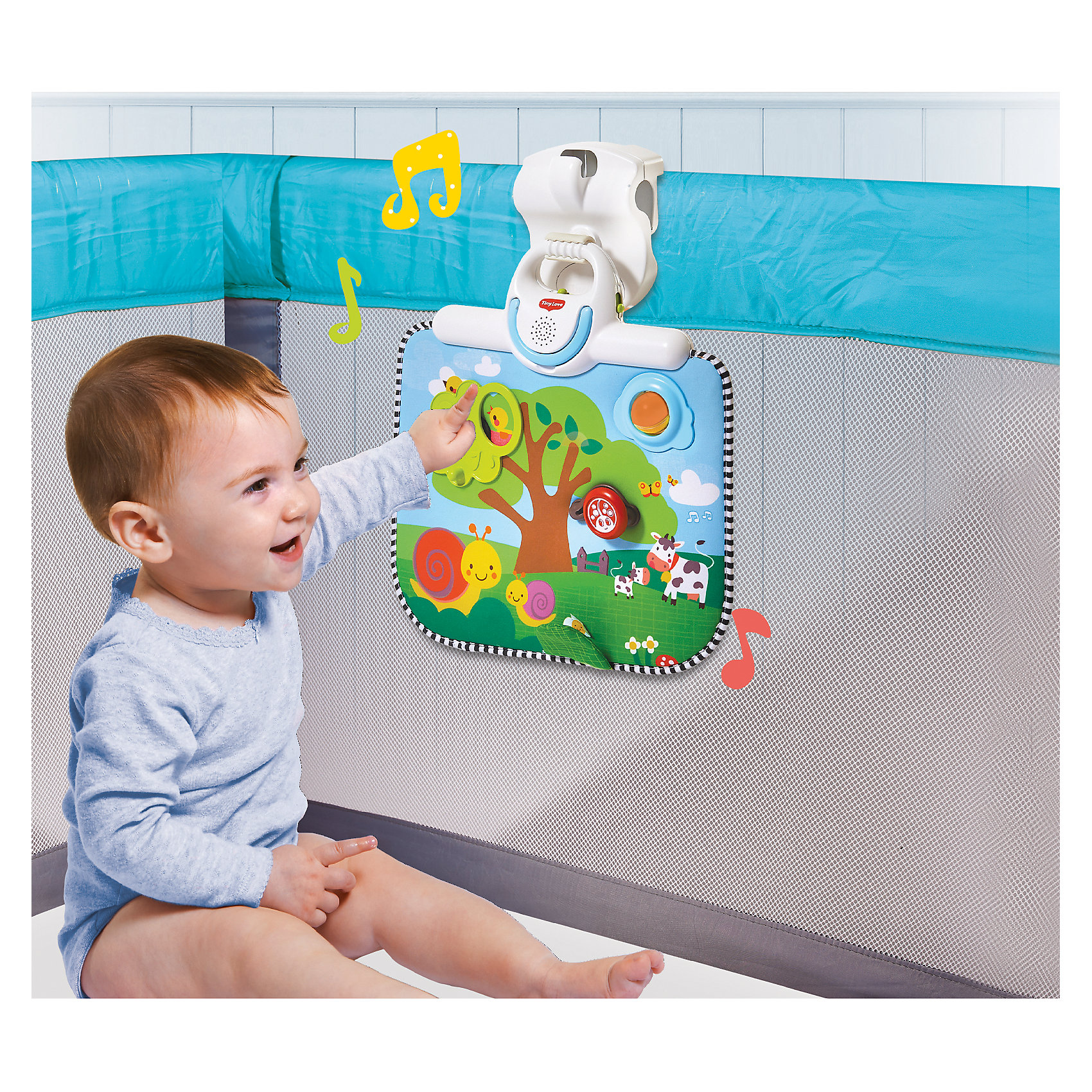 Двусторонний развивающий центр, Tiny LoveМягкие игрушки<br>Двусторонний развивающий центр - прекрасный вариант для малышей! Центр развивает, развлекает и убаюкивает кроху. Игрушка прекрасно крепится к кроваткам, манежам, люлькам и содержит в себе развлекательные элементы в виде дерева с окошком, шарика-погремушки, жучка, шуршащего элемента, а так же музыкальной панели. Мобиль можно использовать как ночник с колыбельной мелодией. На одной стороне развивающего центра находятся игрушки, на другой -  звездное небо и мигающая подсветка.<br>Продукция сертифицирована, экологически безопасна для ребенка, использованные красители не токсичны и гипоаллергенны.<br><br>Дополнительная информация:<br><br>- Материал: пластик, текстиль.<br>- Размер: 9,5х37х37 см.<br>- Удобные крепления.<br>- 2 режима использования: как развивающий центр, как ночник.<br>- Длительность колыбельной: 30 мин. <br>- Громкость регулируется. <br>- Развивающие элементы и погремушка.<br><br>Двусторонний развивающий центр, Tiny Love, можно купить в нашем магазине.<br><br>Ширина мм: 348<br>Глубина мм: 344<br>Высота мм: 97<br>Вес г: 975<br>Возраст от месяцев: 0<br>Возраст до месяцев: 12<br>Пол: Унисекс<br>Возраст: Детский<br>SKU: 4589904