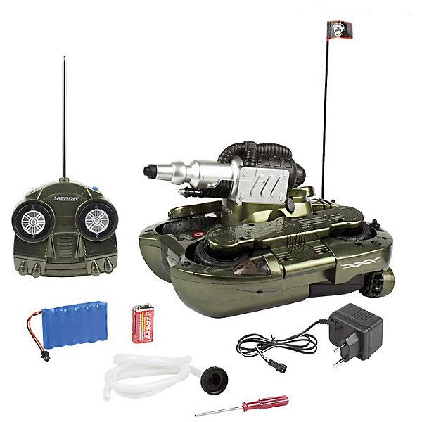 Танк-амфибия Гидра-24, со светом, на радиоуправлении, Mioshi ArmyВоенный транспорт<br>Каждый мальчишка мечтает получить в подарок мощный танк на радиоуправлении. Танк-амфибия от Mioshi Tech непременно понравится Вашему ребёнку и надолго станет его самой любимой игрушкой!<br>Этот многофункциональный танк с лёгкостью передвигается как по суше, так и по воде. Он развивает скорость до 10 км/ч, вращается на 360 градусов, а также стреляет водой! Световые эффекты добавляют игре ещё большей зрелищности.<br><br>Дополнительная информация:<br><br><br>Частота: 27,145 МГц<br>Размер: 24 см<br>Двигается во всех направлениях, по суше и воде<br>Полный привод<br>В комплект входят: пульт управления, антенна, зарядное устройство, отвёртка, шланг для забора воды и все необходимые батарейки (Крона).<br><br>Танк-амфибию Гидра-24, со светом, на радиоуправлении, Mioshi Army  можно купить в нашем магазине.<br>Ширина мм: 360; Глубина мм: 250; Высота мм: 180; Вес г: 3100; Возраст от месяцев: 96; Возраст до месяцев: 1188; Пол: Мужской; Возраст: Детский; SKU: 4590211;