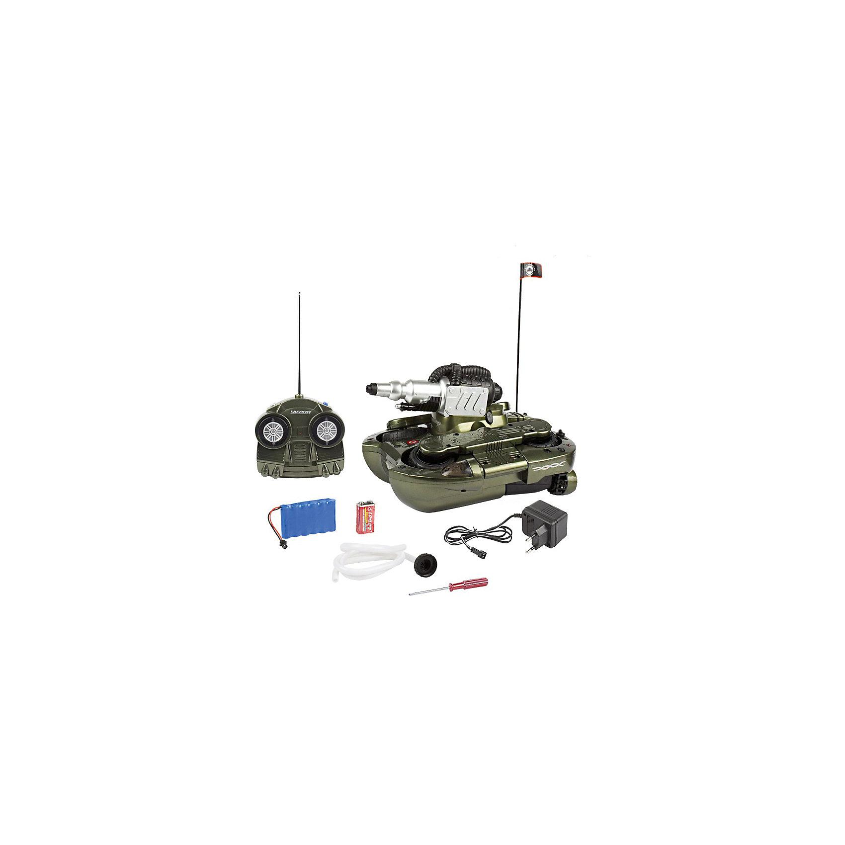 Танк-амфибия Гидра-24, со светом, на радиоуправлении, Mioshi ArmyВоенный транспорт<br>Каждый мальчишка мечтает получить в подарок мощный танк на радиоуправлении. Танк-амфибия от Mioshi Tech непременно понравится Вашему ребёнку и надолго станет его самой любимой игрушкой!<br>Этот многофункциональный танк с лёгкостью передвигается как по суше, так и по воде. Он развивает скорость до 10 км/ч, вращается на 360 градусов, а также стреляет водой! Световые эффекты добавляют игре ещё большей зрелищности.<br><br>Дополнительная информация:<br><br><br>Частота: 27,145 МГц<br>Размер: 24 см<br>Двигается во всех направлениях, по суше и воде<br>Полный привод<br>В комплект входят: пульт управления, антенна, зарядное устройство, отвёртка, шланг для забора воды и все необходимые батарейки (Крона).<br><br>Танк-амфибию Гидра-24, со светом, на радиоуправлении, Mioshi Army  можно купить в нашем магазине.<br><br>Ширина мм: 360<br>Глубина мм: 250<br>Высота мм: 180<br>Вес г: 3100<br>Возраст от месяцев: 96<br>Возраст до месяцев: 1188<br>Пол: Мужской<br>Возраст: Детский<br>SKU: 4590211
