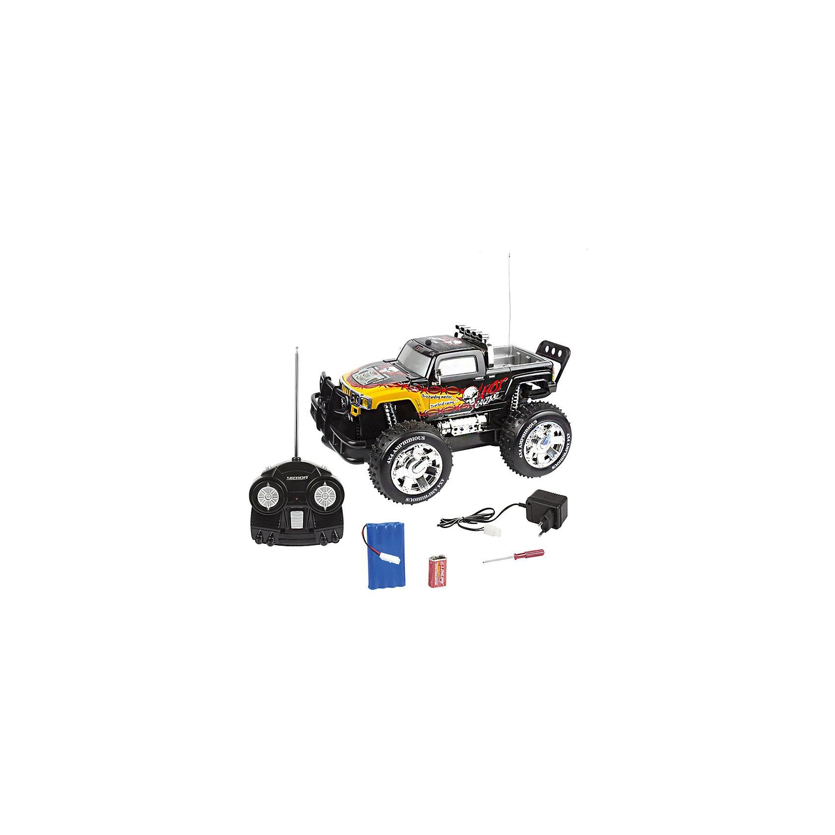 Машина-амфибия Тайфун-38, со светом, звуком, на радиоуправлении, Mioshi ArmyМашинки<br>Ни один мальчишка не останется равнодушным к многофункциональному автомобилю на пульте управления. Подарите Вашему ребёнку машину-амфибию от Mioshi Tech, и она надолго станет его самой любимой игрушкой!<br>Этот мощный внедорожник яркой расцветки с ударопрочным корпусом может передвигаться как по суше, так и по воде! Автомобиль развивает скорость до 10 км/ч и вращается на 360 градусов. Световые эффекты и звуковое сопровождение делают игру ещё более впечатляющей и незабываемой.<br><br><br>Дополнительная информация:<br><br>Частота: 27,145 МГц<br>Размер: 38 см<br>В комплект входят: пульт управления, зарядное устройство, отвёртка, все необходимые батарейки (Крона) и инструкция.<br>Двигается по воде и бездорожью<br>Защита от влаги<br><br>Машину-амфибию Тайфун-38, со светом, звуком, на радиоуправлении, Mioshi Army  можно купить в нашем магазине.<br><br>Ширина мм: 500<br>Глубина мм: 255<br>Высота мм: 240<br>Вес г: 4600<br>Возраст от месяцев: 96<br>Возраст до месяцев: 1188<br>Пол: Мужской<br>Возраст: Детский<br>SKU: 4590213