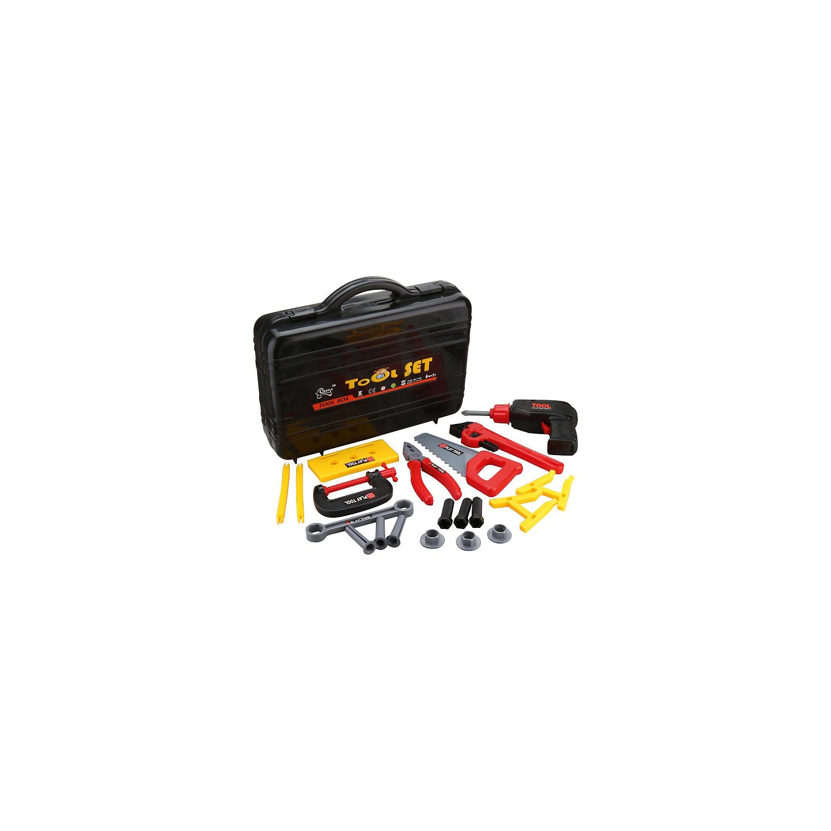 Игровой набор инструментов Заветный чемоданчик (20 предм., в кейсе), ALTACTOСюжетно-ролевые игры<br>Набор пластмассовых инструментов из 20 предметов.<br>В дрель возможна установка 2 батареек АА (не входят в комплект).<br>Все инструменты аккуратно складываются в специальный кейс.<br>Набор удобно хранить и переносить.<br><br>Дополнительная информация:<br><br>В наборе 20 предметов: шуруповерт, газовый ключ, пила, струбцина, рожковый ключ, плоскогубцы, болты, гайки и другие предметы в удобном пластиковом чемоданчике<br>Материал: пластик<br>Размеры упаковки: 33 х 85 х 26 см<br>Для работы шуруповерта необходимы 2 батарейки типа АА (не входят в комплект).<br><br>Игровой набор инструментов Заветный чемоданчик (20 предм., в кейсе), ALTACTO можно купить в нашем магазине.<br><br>Ширина мм: 330<br>Глубина мм: 85<br>Высота мм: 265<br>Вес г: 900<br>Возраст от месяцев: 36<br>Возраст до месяцев: 72<br>Пол: Мужской<br>Возраст: Детский<br>SKU: 4590218