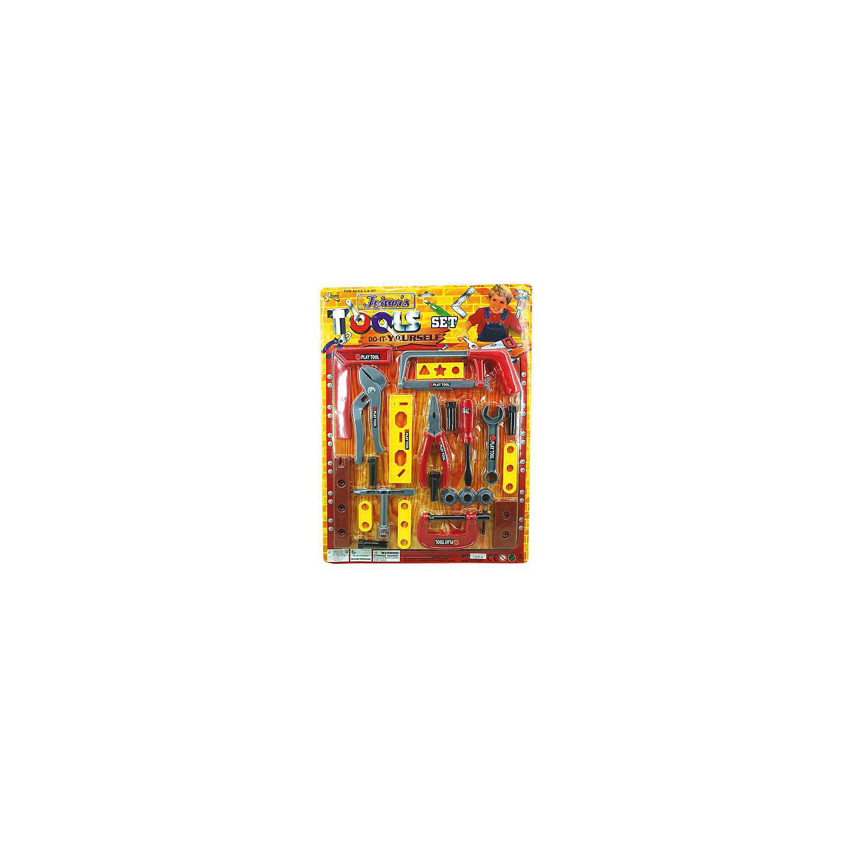 Набор инструментов Домашний ремонт (27 предм.), ALTACTOМастерская и инструменты<br>Набор пластмассовых инструментов на блистере из 27 предметов, в ассортименте.<br><br>Дополнительная информация:<br><br>В ассортименте 2 вида набора:<br>Комплектация 1: столярный угольник, баллонный ключ, плоскогубцы, переставные плоскогубцы, ножовка, гайки, болты, отвертка, рожковый ключ, струбцина и прочий инструмент.<br>Комплектация 2: молоток, болты и гайки, отвертка, клин, плоскогубцы, шпатель, разводной ключ и прочий инструмент.<br><br>ВНИМАНИЕ! Данный артикул представлен в разных вариантах исполнения. К сожалению, заранее выбрать определенный вариант невозможно.<br><br>Набор инструментов Домашний ремонт (27 предм.), ALTACTO можно купить в нашем магазине.<br><br>Ширина мм: 520<br>Глубина мм: 385<br>Высота мм: 20<br>Вес г: 250<br>Возраст от месяцев: 36<br>Возраст до месяцев: 72<br>Пол: Мужской<br>Возраст: Детский<br>SKU: 4590222