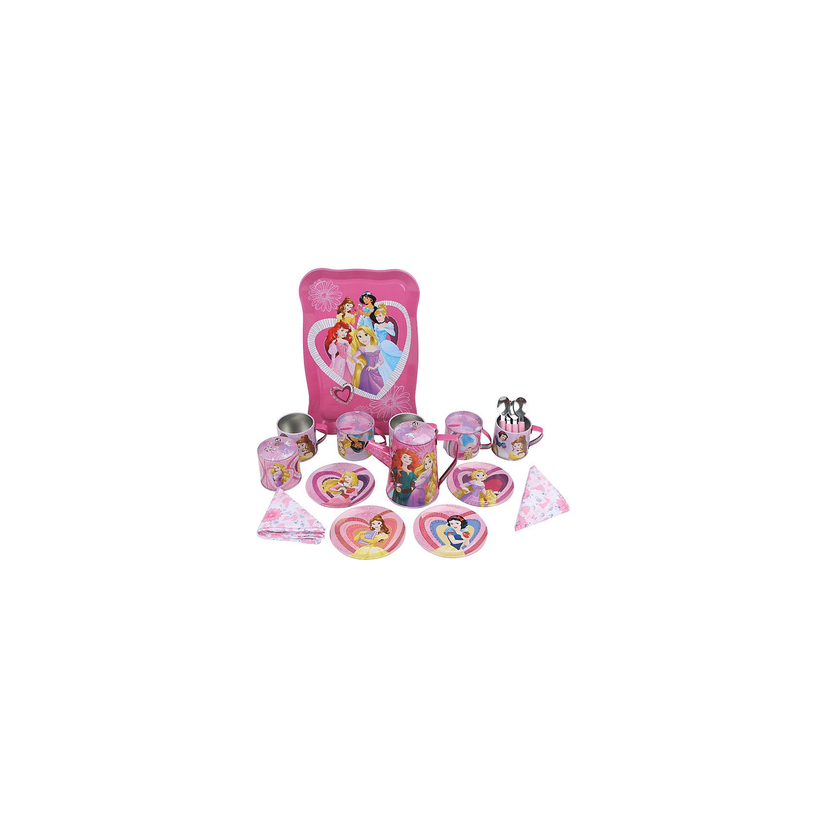 Набор кофейной посуды Утро принцессы (22 предм., металл.), Принцессы ДиснейИгрушки<br>Главной особенностью набора является фирменное и красочное оформление, выполненное совместно с компанией Disney (Дисней). Каждый элемент тщательно проработан и детализирован – от упаковки до самого маленького блюдца.<br>Материал посуды – прочный, лёгкий металл, который не разобьётся во время игры.<br><br>Дополнительная информация:<br><br>Материал: металл<br>В набор кофейной посуды Утро принцессы входит 22 предмета: 4 салфетки, 4 блюдца, 4 ложки, 1 поднос, 4 кружки, 1 молочник, 1 сахарница с крышкой, 1 чайник с крышкой<br><br>Набор кофейной посуды Утро принцессы (22 предм., металл.), Принцессы Дисней можно купить в нашем магазине.<br><br>Ширина мм: 410<br>Глубина мм: 310<br>Высота мм: 90<br>Вес г: 770<br>Возраст от месяцев: 36<br>Возраст до месяцев: 72<br>Пол: Женский<br>Возраст: Детский<br>SKU: 4590223