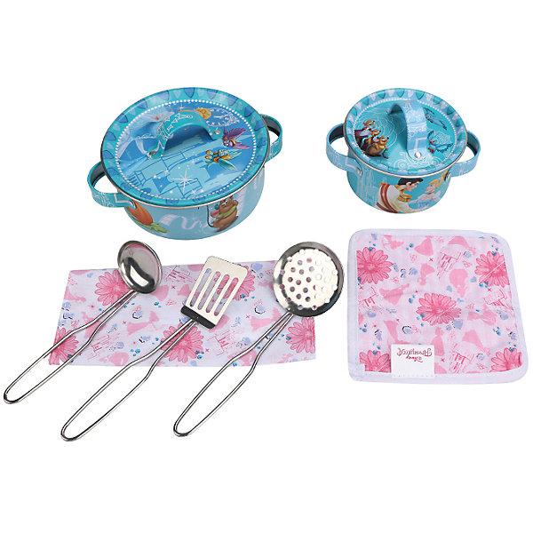 Набор кухонной посуды Прекрасная принцесса (9 предм., металл.), Принцессы ДиснейИгрушки<br>Главной особенностью набора является фирменное и красочное оформление, выполненное совместно с компанией Disney (Дисней). Каждый элемент тщательно проработан и детализирован – от упаковки до самого маленького блюдца.<br>Материал посуды – прочный, лёгкий металл, который не разобьётся во время игры.<br><br>Дополнительная информация:<br><br>Материал: металл<br>В набор кухонной посуды Прекрасная принцесса входит 9 предметов: 1 салфетка, 1 прихватка, 3 прибора, 2 крышки, 2 кастрюли<br><br>Набор кухонной посуды Прекрасная принцесса (9 предм., металл.), Принцессы Дисней можно купить в нашем магазине.<br>Ширина мм: 335; Глубина мм: 235; Высота мм: 75; Вес г: 340; Возраст от месяцев: 36; Возраст до месяцев: 72; Пол: Женский; Возраст: Детский; SKU: 4590225;