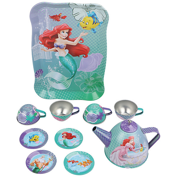 Набор чайной посуды Ариэль (11 предм., металл., в чемоданчике), Принцессы ДиснейИгрушки<br>Характеристики товара:<br><br>• возраст: от 3 лет;<br>• размер упаковки: 26х20х11 см.;<br>• количество предметов: 11;<br>• состав: металл;<br>• упаковка: картонная коробка блистерного типа;<br>• вес в упаковке: 200 гр.;<br>• бренд: Disney;<br>• страна-производитель: Китай.<br><br>Игровой набор чайной посуды «Ариэль» из серии «Принцессы Дисней»  станет отличным подарком для вашего ребенка  и дополнением к сюжетно-ролевым играм.<br><br>Главной особенностью набора является фирменное и красочное оформление, выполненное совместно с компанией Disney. При этом, все чашки и блюдца имеют разные иллюстрации. На них изображены как главные герои, так и дополнительные персонажи из любимого мультфильма. Каждый элемент тщательно проработан и детализирован – от упаковки до самого маленького блюдца.<br><br>В комплекте:  1 поднос, 4 блюдца, 4 чашки, 1 чайник с крышкой. Материал посуды – прочный, лёгкий металл, который не разобьётся во время игры. Набор упакован в красивый чемоданчик, в нем удобно хранить посуду и использовать для переноски.<br><br>Игровой набор чайной посуды «Ариэль», 11 предметов в чемоданчике от Disney<br>можно купить в нашем интернет-магазине.<br>Ширина мм: 260; Глубина мм: 20; Высота мм: 105; Вес г: 250; Возраст от месяцев: 36; Возраст до месяцев: 72; Пол: Женский; Возраст: Детский; SKU: 4590226;