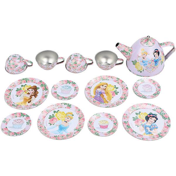 Набор чайной посуды Королевское чаепитие (14 предм., металл.), Принцессы ДиснейИгрушки<br>Характеристики товара:<br><br>• возраст: от 3 лет;<br>• размер упаковки: 33х8х28 см.;<br>• количество предметов: 14;<br>• состав: металл;<br>• упаковка: картонная коробка блистерного типа;<br>• вес в упаковке: 170 гр.;<br>• бренд: Disney;<br>• страна-производитель: Китай.<br><br>Игровой набор чайной посуды «Королевское чаепитие» из серии «Принцессы Дисней»   станет отличным подарком для вашего ребенка  и дополнением к сюжетно-ролевым играм.<br><br>Главной особенностью набора является фирменное и красочное оформление, выполненное совместно с компанией Disney. При этом, все чашки и блюдца имеют разные иллюстрации. На них изображены как главные герои, так и дополнительные персонажи из любимого мультфильма. Каждый элемент тщательно проработан и детализирован – от упаковки до самого маленького блюдца.<br><br>В комплекте: 8 блюдец разного размера, 4 чашки, 1 чайник с крышкой. Материал посуды – прочный, лёгкий металл, который не разобьётся во время игры. Набор упакован в яркую оригинальную упаковку с изображением героев Disney. <br><br>Игровой набор чайной посуды «Королевское чаепитие», 14 предметов от Disney<br>можно купить в нашем интернет-магазине.<br>Ширина мм: 330; Глубина мм: 80; Высота мм: 285; Вес г: 585; Возраст от месяцев: 36; Возраст до месяцев: 72; Пол: Женский; Возраст: Детский; SKU: 4590227;