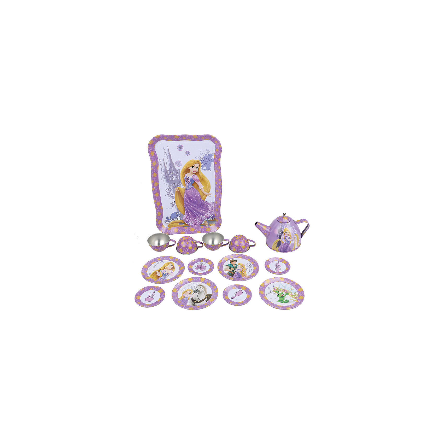 Набор чайной посуды Рапунцель (15 предм., металл.), Принцессы ДиснейГлавной особенностью набора является фирменное и красочное оформление, выполненное совместно с компанией Disney (Дисней). Каждый элемент тщательно проработан и детализирован – от упаковки до самого маленького блюдца.<br>Материал посуды – прочный, лёгкий металл, который не разобьётся во время игры.<br><br>Дополнительная информация:<br><br>В набор чайной посуды Рапунцель входит 15 предметов: 1 поднос, 8 блюдец разного размера, 4 чашки, 1 чайник с крышкой<br><br>Набор чайной посуды Рапунцель (15 предм., металл.), Принцессы Дисней можно купить в нашем магазине.<br><br>Ширина мм: 320<br>Глубина мм: 195<br>Высота мм: 95<br>Вес г: 480<br>Возраст от месяцев: 36<br>Возраст до месяцев: 72<br>Пол: Женский<br>Возраст: Детский<br>SKU: 4590228