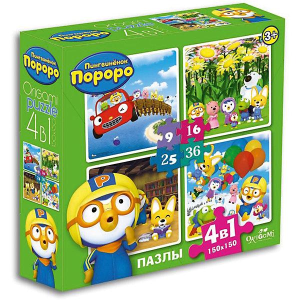 Пазлы 4в1 Приключения друзей, 9*16*24*36 деталей, OrigamiПазлы для малышей<br>Набор из четырех пазлов с изображениями доброго, милого пингвиненка и его друзей обязательно понравится детям! Ориентируясь на изображение на коробке, ребенок без труда соберет яркую картинку с любимыми персонажами и, конечно же, получит массу положительных эмоций! Собирание пазлов - увлекательное и полезное занятие в процессе которого ребенок тренирует мелкую моторику и внимание, и, конечно, получаем массу положительных эмоций.<br><br>Дополнительная информация:<br><br>- Материал: картон.<br>- Размер собранной картинки: 15х15 см.<br>- Самая крупная деталь: 5 см.<br>- Самая мелкая деталь: 2 см.<br>- Размер упаковки: 18х18 см. <br><br>Пазлы 4-в-1 Приключения друзей, 9*16*24*36 деталей, Origami (Оригами), в ассортименте, можно купить в нашем магазине.<br>Ширина мм: 180; Глубина мм: 50; Высота мм: 180; Вес г: 165; Возраст от месяцев: 36; Возраст до месяцев: 96; Пол: Унисекс; Возраст: Детский; SKU: 4590427;