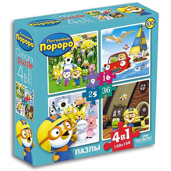 Пазлы 4в1 Играем вместе, 9*16*24*36 деталей, OrigamiПазлы для малышей<br>Набор из четырех пазлов с изображениями доброго, милого пингвиненка и его друзей обязательно понравится детям! Ориентируясь на изображение на коробке, ребенок без труда соберет яркую картинку с любимыми персонажами и, конечно же, получит массу положительных эмоций! Собирание пазлов - увлекательное и полезное занятие в процессе которого ребенок тренирует мелкую моторику и внимание, и, конечно, получаем массу положительных эмоций.<br><br>Дополнительная информация:<br><br>- Материал: картон.<br>- Размер собранной картинки: 15х15 см.<br>- Самая крупная деталь: 5 см.<br>- Самая мелкая деталь: 2 см.<br>- Размер упаковки: 18х18 см. <br><br>Пазлы 4-в-1 Играем вместе, 9*16*24*36 деталей, Origami (Оригами), в ассортименте, можно купить в нашем магазине.<br>Ширина мм: 180; Глубина мм: 50; Высота мм: 180; Вес г: 165; Возраст от месяцев: 36; Возраст до месяцев: 96; Пол: Унисекс; Возраст: Детский; SKU: 4590428;