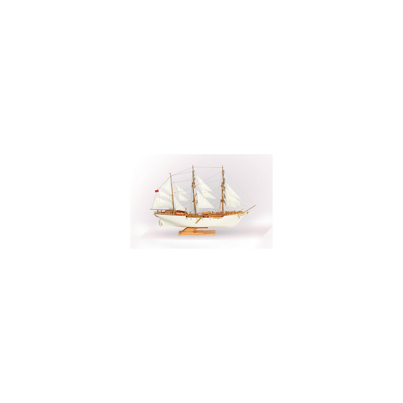 Сборная модель-копия  Учебно-парусное судно ТоварищСудно «Товарищ» был построено в 1933 году в Гамбурге и называлось «Горх-Фок». Трёхмачтовый барк строился в учебных целях по заказу немецкого флота и назван был в честь известного немецкого писателя. <br><br>Дополнительная информация:<br><br>В комплект входят: детали для сборки- 264шт, инструкция для сборки, клей. На коробке - краткая история отечественного флота, показано внешнее устройство корабля, даны названия для всех мачт. <br>Длина готовой модели: 44см. Игрушка для детей, имеющих опыт моделирования.<br><br>Сборную модель-копию  Учебно-парусное судно Товарищ можно купить в нашем магазине.<br><br>Ширина мм: 515<br>Глубина мм: 335<br>Высота мм: 135<br>Вес г: 670<br>Возраст от месяцев: 84<br>Возраст до месяцев: 168<br>Пол: Мужской<br>Возраст: Детский<br>SKU: 4591159