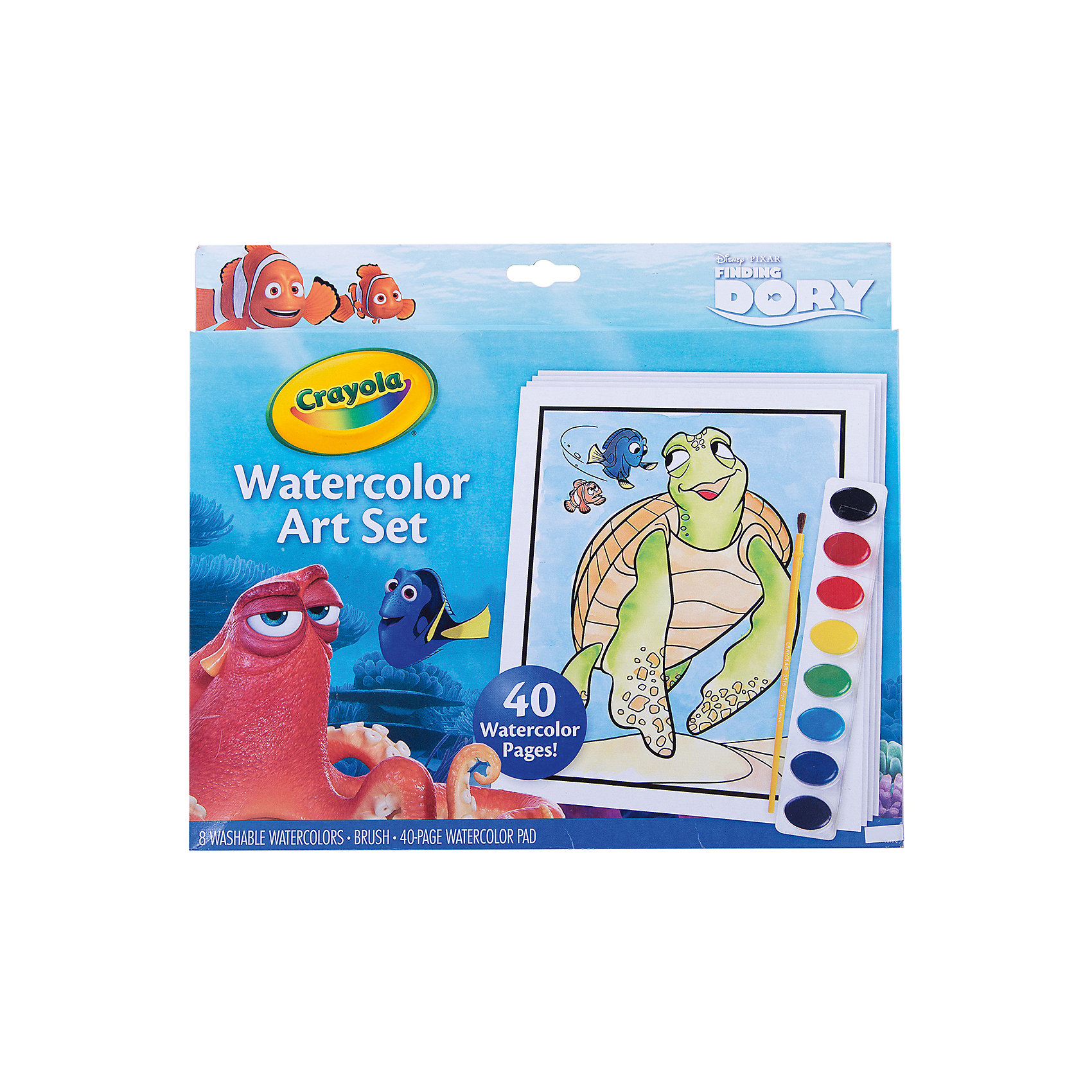 Набор с краской и раскрасками В поисках Дори, CrayolaНаборы для раскрашивания<br>Набор с краской и раскрасками В поисках Дори включает в себя 40 листов для раскрашивание, набор красок из 8 цветок и кисточку. Краски состоят из фиолетового, синего, голубого, зеленого, желтого, красного, бордового и черного цветов. На каждой странице раскраски ребенок сможет найти известных персонажей мультфильма «В поисках Немо». Картинки отлично прорисованы, что позволит ребенку более качественно ее раскрасить. Яркая обложка раскраски очень красочна, на ней тоже изображены веселые герои мультфильма на фоне воды и морской растительности. Изделие выполнено из прочной и качественной бумаги высокого качества. <br>Рекомендуемый возраст: от 3 лет.<br><br>Ширина мм: 299<br>Глубина мм: 255<br>Высота мм: 17<br>Вес г: 264<br>Возраст от месяцев: 36<br>Возраст до месяцев: 60<br>Пол: Унисекс<br>Возраст: Детский<br>SKU: 4592402
