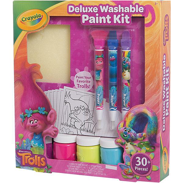 Набор с красками, Тролли ДелюксТролли<br>Характеристики товара:<br><br>• материал: бумага, пластик<br>• размер: 29х24х3 см<br>• рисунки с крупными контурами<br>• комплектация:3 баночки жидкой акварели, 3 кисточки, 5 трафаретов-спонжиков, 10 листов с картинками для раскрашивания, 10 листов бумаги для рисования<br>• развивающая<br>• возраст: от трех лет<br>• страна бренда: США<br>• страна изготовитель: США<br><br>Такой набор станет отличным подарком малышам! Он отличается тем, что на картинках и предметах изображены любимые герои многих современных детей - тролли, а в наборе есть жидкая акварель. Картинок много! С помощь юрисования и раскрашивания ребенок не только весело проведет время, он будет тренировать внимательность, абстрактное мышление, логику, усидчивость, мелкую моторику и творческие способности. <br>Набор выпущен в удобном формате. Изделие производится из качественных и проверенных материалов, которые безопасны для детей.<br><br>Набор с красками Тролли от американского бренда Crayola можно купить в нашем интернет-магазине.<br><br>Ширина мм: 303<br>Глубина мм: 279<br>Высота мм: 58<br>Вес г: 596<br>Возраст от месяцев: 48<br>Возраст до месяцев: 96<br>Пол: Женский<br>Возраст: Детский<br>SKU: 4592409