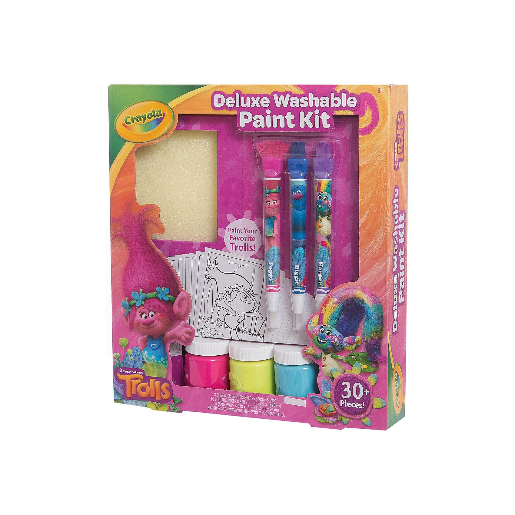 Набор с красками, Тролли ДелюксХарактеристики товара:<br><br>• материал: бумага, пластик<br>• размер: 29х24х3 см<br>• рисунки с крупными контурами<br>• комплектация:3 баночки жидкой акварели, 3 кисточки, 5 трафаретов-спонжиков, 10 листов с картинками для раскрашивания, 10 листов бумаги для рисования<br>• развивающая<br>• возраст: от трех лет<br>• страна бренда: США<br>• страна изготовитель: США<br><br>Такой набор станет отличным подарком малышам! Он отличается тем, что на картинках и предметах изображены любимые герои многих современных детей - тролли, а в наборе есть жидкая акварель. Картинок много! С помощь юрисования и раскрашивания ребенок не только весело проведет время, он будет тренировать внимательность, абстрактное мышление, логику, усидчивость, мелкую моторику и творческие способности. <br>Набор выпущен в удобном формате. Изделие производится из качественных и проверенных материалов, которые безопасны для детей.<br><br>Набор с красками Тролли от американского бренда Crayola можно купить в нашем интернет-магазине.<br><br>Ширина мм: 305<br>Глубина мм: 278<br>Высота мм: 55<br>Вес г: 604<br>Возраст от месяцев: 48<br>Возраст до месяцев: 96<br>Пол: Женский<br>Возраст: Детский<br>SKU: 4592409