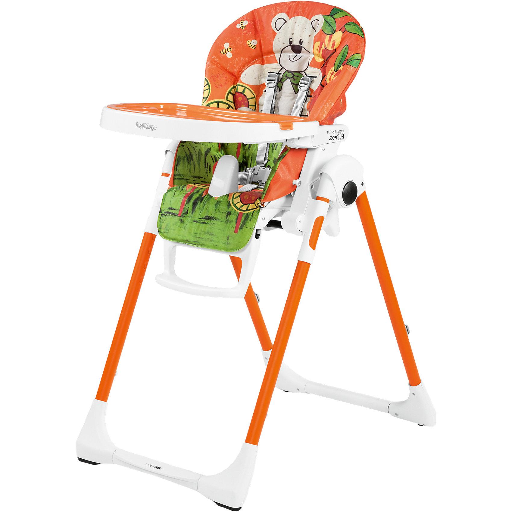 Стульчик для кормления Prima Pappa Zero3, Peg-Perego, Orso Arancio оранжевыйот рождения<br>Удобный и функциональный стульчик Prima Pappa Zero3, Peg-Perego, обеспечит комфорт и безопасность Вашего малыша во время кормления. Спинка сиденья легко регулируется в 5 положениях (вплоть до горизонтального), что позволяет использовать стульчик как для кормления так<br>и для игр и сна. Широкое и эргономичное мягкое сиденье будет удобно как малышу, так и ребенку постарше. Стульчик оснащен регулируемыми 5-точечными ремнями безопасности, а планка-разделитель для ножек под столиком не даст малышу соскользнуть. Высота стула<br>регулируется в 7 положениях, выбрав самое низкое положение и убрав столик, Вы легко трансформируете стул для кормления в низкий безопасный детский стульчик, куда ребенок может садиться сам. Подножка регулируется в 3 позициях, позволяя выбрать оптимальное для ребенка<br>положение. <br><br>Широкий съемный столик оснащен подносом с отделениями для кружки или стакана, поднос можно снять для быстрой чистки и использовать основную поверхность для игр и занятий. Для детей постарше стул можно использовать без столика для кормления, придвинув его к столу<br>для взрослых. Ножки оснащены колесиками с блокираторами, что позволяет легко перемещать стульчик по комнате. Чехол легко снимаются для чистки. Стульчик легко и компактно складывается и занимает мало места при хранении. Подходит для детей в возрасте от 0<br>месяцев до 3 лет.<br><br>Дополнительная информация:<br><br>- Цвет: оранжевый.<br>- Материал: пластик, ПВХ.<br>- Размер в разложенном состоянии: 55 х 76 х 105 см. <br>- Размер в сложенном состоянии: 58 х 28,5 х 103,5 cм. <br>- Вес: 7,6 кг.<br><br>Стульчик для кормления Prima Pappa Zero3, Peg-Perego, Orso Arancio оранжевый, можно купить в нашем интернет-магазине.<br><br>Ширина мм: 930<br>Глубина мм: 560<br>Высота мм: 300<br>Вес г: 10040<br>Цвет: orange/gelb<br>Возраст от месяцев: 0<br>Возраст до месяцев: 36<br>Пол: Унисекс<br>Возраст: Детский<br>SKU: 4593828