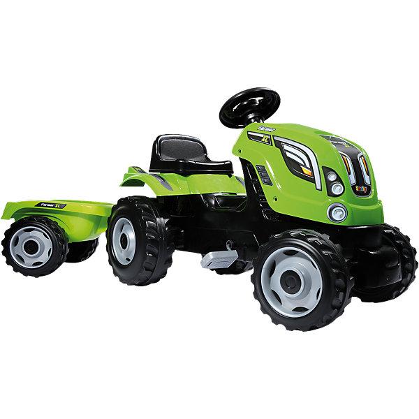 Трактор педальный XL с прицепом, зеленый, 142*44*54,5 см, SmobyМашинки-каталки<br>Характеристики:<br><br>• в комплекте: трактор, прицеп;<br>• руль оснащён клаксоном;<br>• капот открывается;<br>• сиденье регулируется;<br>• съёмный прицеп<br>• размер трактора: 142х44х54,5 см;<br>• материал: пластик, металл;<br>• вес: 8 кг;<br>• максимальная нагрузка: 50 кг;<br>• страна производитель: Франция. <br><br>Педальный трактор от Smoby подходит для игр дома и на свежем воздухе. Игра с трактором-каталкой поможет ребенку почувствовать себя настоящим фермером, не боящимся работы.<br><br>Игрушка изготовлена из высококачественного пластика, обладающего высокой прочностью. Колеса легко справляются с любой дорожной поверхностью. Сиденье имеет удобную спинку, поддерживающую ребенка во время игры.<br><br>Прицеп можно снять или снова прикрепить при необходимости. В нем ребенок сможет перевозить свои игрушки или необходимые для игры элементы.<br><br>Капот трактора поднимается. Под капотом малыш увидит игрушечный двигатель. Он познакомит  ребенка со строением машины и позволит придумать увлекательный сюжет для игры, где трактору необходим ремонт.<br><br>Трактор педальный XL с прицепом, зеленый, 142*44*54,5 см, Smoby (Смоби) можно купить в нашем интернет-магазине.<br><br>Ширина мм: 450<br>Глубина мм: 400<br>Высота мм: 800<br>Вес г: 885<br>Возраст от месяцев: 36<br>Возраст до месяцев: 2147483647<br>Пол: Унисекс<br>Возраст: Детский<br>SKU: 4593832