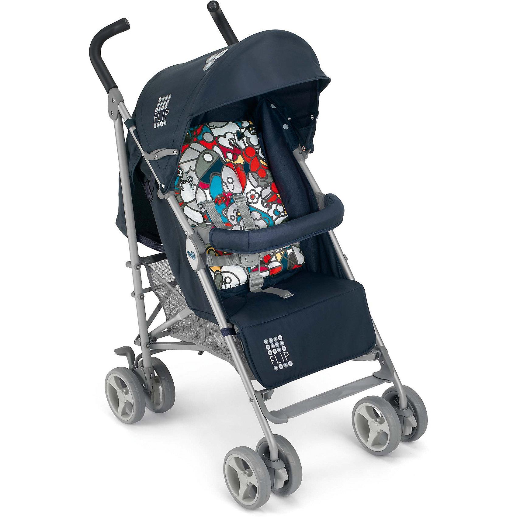 Коляска-трость CAM Flip, синийКоляски-трости<br>Коляска-трость Flip, CAM, синий – легкая, компактная, маневренная прогулочная коляска.<br>Прогулочная коляска с облегченной алюминиевой рамой и механизмом складывания типа трость позволит совершать с малышом как прогулки по городу, так и брать ее с собой в поездки. Модель имеет регулируемую спинку (плавное регулирование на тесемке), удобное мягкое сидение и мягкий вкладыш-матрасик. Пятиточечные ремни безопасности и съемный бампер с мягким тканевым покрытием обеспечат надежную фиксацию ребенка и не позволят ему выскользнуть. Подставка для ножек регулируемая. Капюшон, с солнцезащитным козырьком защитит ребенка от повышенной солнечной активности, а дождевик, фиксируемый четырьмя липучками, убережет от промокания в непогоду. Предусмотрена вместительная корзина для покупок. У коляски удобные, эргономичной формы ручки из нескользящего, приятного на ощупь материала. Колеса пластиковые сдвоенные. Маневренность и повышенная проходимость коляски достигается благодаря передним, вращающимся на 360° колесам с возможностью фиксации. На задних колёсах - ножной тормоз, с помощью которого их можно заблокировать одной ногой. Пружинная система амортизации позволяет уменьшить тряску от неровностей на дороге. Коляска без проблем преодолеет трудные участки дороги, грязь, и без труда развернется на месте. В сложенном виде не занимает много места, благодаря малогабаритности и компактности, ее можно хранить в небольшом помещении. Имеется замок от случайного раскладывания сложенной коляски и ручка для переноски сложенной коляски. Изготовлена из гигиеничных, современных материалов, в соответствие с европейским стандартом качества для детских товаров. Коляска-трость Cam Flip прошла успешно тесты на износостойкость и самопроизвольное складывание.<br><br>Дополнительная информация:<br><br>- В комплекте: дождевик<br>- Цвет: синий<br>- Защита: бампер, 5-ти точечные ремни<br>- Рама: алюминий<br>- Колеса: пластиковые<br>- Диаметр колес: 17 см.<br>- Шири