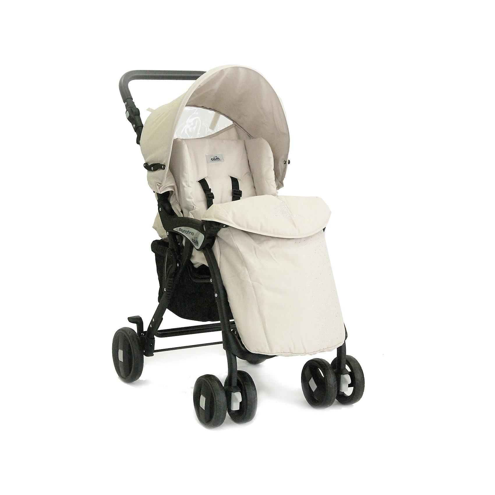 Прогулочная коляска Portofino Ex с кристаллами, CAM, кремовыйПрогулочная коляска Portofino Ex с кристаллами, CAM, кремовый<br>Прогулочная коляска Cam Portofino с прочной легкой алюминиевой рамой и механизмом складывания типа книжка позволит совершать с малышом как прогулки по городу, так и брать ее с собой в поездки. Мягкая спинка и жесткая подножка без труда регулируются в нескольких положениях, чтобы крохе было удобно и сидеть, и лежать в коляске. Спинка раскладывается до положения лежа. Пятиточечные ремни безопасности и съемный бампер обеспечат надежную фиксацию ребенка и не позволят ему выскользнуть. Чехол на ноги согреет ноги малыша в прохладную погоду, дождевик убережет от промокания в непогоду, а объемный складывающийся съемный капюшон с козырьком защитит ребенка от солнца и дождя. В капюшоне имеется окошко, из прозрачной плотной пленки ПВХ через которое можно наблюдать за малышом. Предусмотрена вместительная корзина для покупок. Ручка коляски сделана из нескользящего приятного на ощупь материала, регулируется по высоте под рост родителей. Передние сдвоенные, поворотные на 360° колеса, с возможностью блокировки, обеспечат превосходную маневренность и плавность хода. Тормоз расположен на задних одиночных колесах и фиксирует сразу оба колеса. Пружинная система амортизации позволяет уменьшить тряску от неровностей на дороге. Система компактного складывания удобна для транспортировки и хранения, замок не позволит коляске неожиданно разложиться. Есть ручка для переноски коляски в сложенном виде. Прогулочная коляска Cam Portofino сделана из нетоксичных современных материалов, в соответствии с европейским стандартом качества детских товаров.<br><br>Дополнительная информация:<br><br>- В комплекте: накидка на ножки, дождевик<br>- Цвет: кремовый (отделка кристаллы)<br>- 4 положения регулировки спинки<br>- Колеса: 6 полиуретановые с пластиковыми ободами<br>- Литые диски на подшипниках из морозоустойчивого бесшумного пластика<br>- Колесная база: 53 см.<br>- Диаметр колес