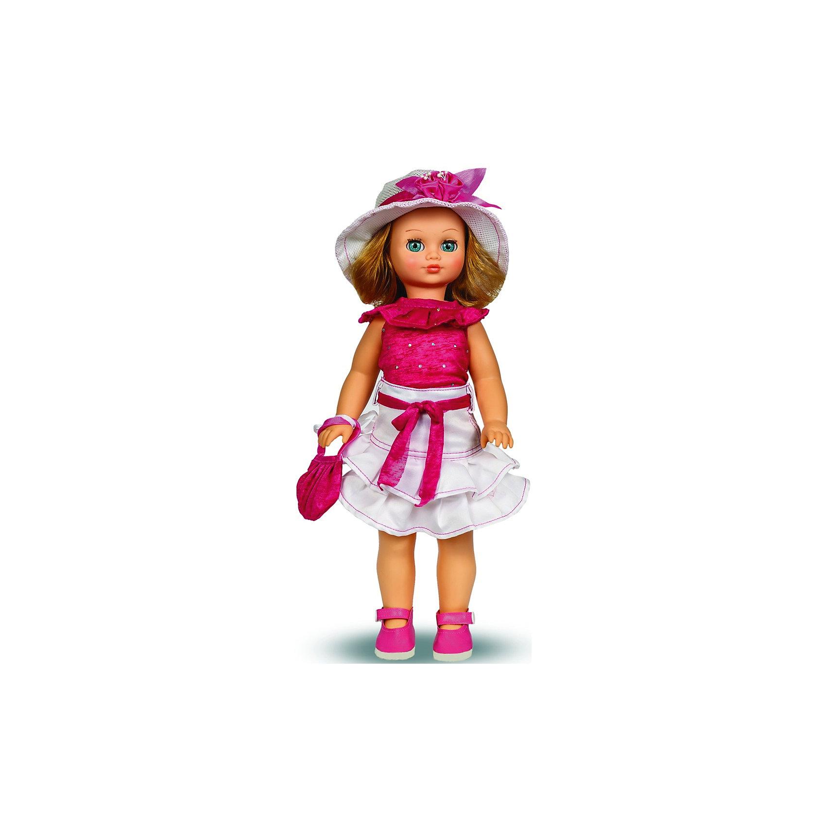 Кукла Лиза, со звуком, 42 см, ВеснаКлассические куклы<br>Эта очаровательная белокурая красавица покорит сердце любой девочки! Куколка одета в розовый топ с оригинальным воротником, пышную белую юбку с оборками и ярким поясом в тон топу. На ногах - розовые туфельки. Кукла оснащена звуковым модулем, она умеет произносить фразы и предложения, которые не только порадуют девочку, но и помогут ей расширить свой словарный запас, откроют возможности для различных игровых сюжетов. Игрушка выполнена из высококачественных нетоксичных материалов абсолютно безопасных для детей.<br><br>Дополнительная информация:<br><br>- Материал: пластизол, пластик, текстиль.<br>- Размер: 42 см.<br>- Комплектация: кукла в одежде и обуви. <br>- Фразы и предложения: Привет! Давай потанцуем;  Я люблю музыку; Возьми меня за ручки; Покружись со мной; Как здорово!; А сейчас спой мне песенку; А другую песенку…; <br>Мне очень нравится!.<br>- Голова, руки, ноги подвижные.<br>- Глаза могут закрываться. <br><br>Куклу Лизу, со звуком, 42см, Весна, можно купить в нашем магазине.<br><br>Ширина мм: 210<br>Глубина мм: 130<br>Высота мм: 430<br>Вес г: 420<br>Возраст от месяцев: 36<br>Возраст до месяцев: 120<br>Пол: Женский<br>Возраст: Детский<br>SKU: 4595140