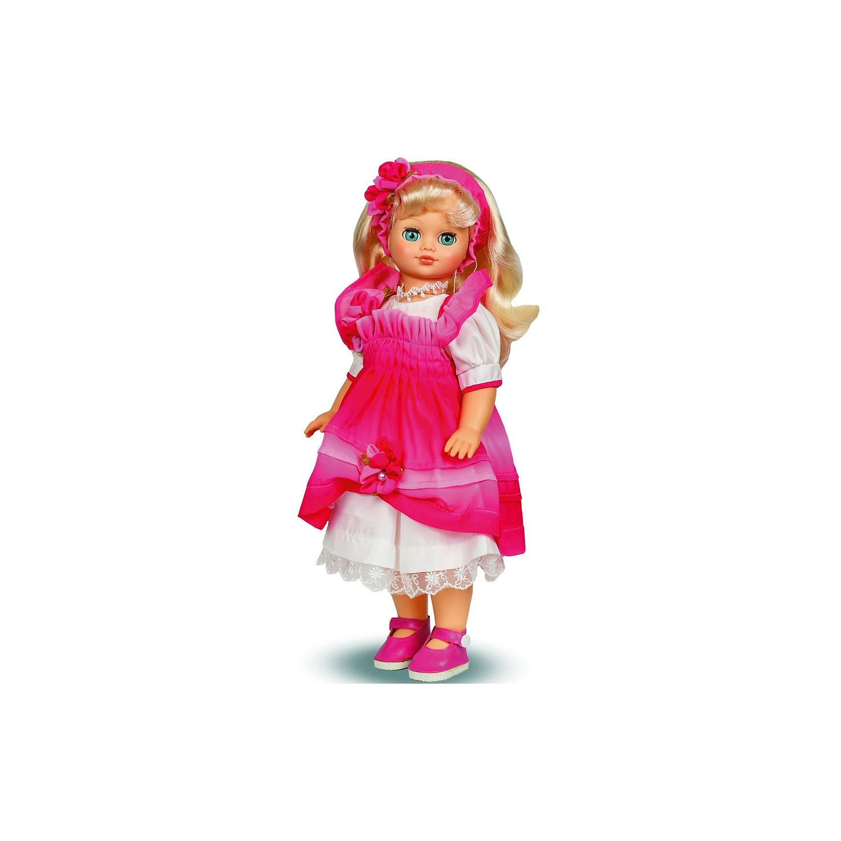 Кукла Лиза, со звуком, 42 см, ВеснаКлассические куклы<br>Эта очаровательная белокурая красавица покорит сердце любой девочки! Куколка одета оригинальный народный костюм, состоящий из розового сарафана с рюшами и белой длинной рубашки, декорированной нежным кружевом. На ногах - розовые туфельки. Волосы Лизы украшены полоской с цветами. Кукла оснащена звуковым модулем, она умеет произносить фразы и предложения, которые не только порадуют девочку, но и помогут ей расширить свой словарный запас, откроют возможности для различных игровых сюжетов. Игрушка выполнена из высококачественных нетоксичных материалов абсолютно безопасных для детей.<br><br>Дополнительная информация:<br><br>- Материал: пластизол, пластик, текстиль.<br>- Размер: 42 см.<br>- Комплектация: кукла в одежде и обуви. <br>- Фразы и предложения: Теперь ты моя подруга, Ты не забыла - сегодня мы идем на праздник, Нам нужно быть красивыми, <br>Сделай мне прическу!, Получилось очень красиво!, Теперь себе, Не забудь про маникюр, А нарядное платье?, Мы сегодня самые красивые!, <br>- Голова, руки, ноги подвижные.<br>- Глаза могут закрываться. <br><br>Куклу Лизу, со звуком, 42 см, Весна, можно купить в нашем магазине.<br><br>Ширина мм: 210<br>Глубина мм: 130<br>Высота мм: 430<br>Вес г: 420<br>Возраст от месяцев: 36<br>Возраст до месяцев: 120<br>Пол: Женский<br>Возраст: Детский<br>SKU: 4595143