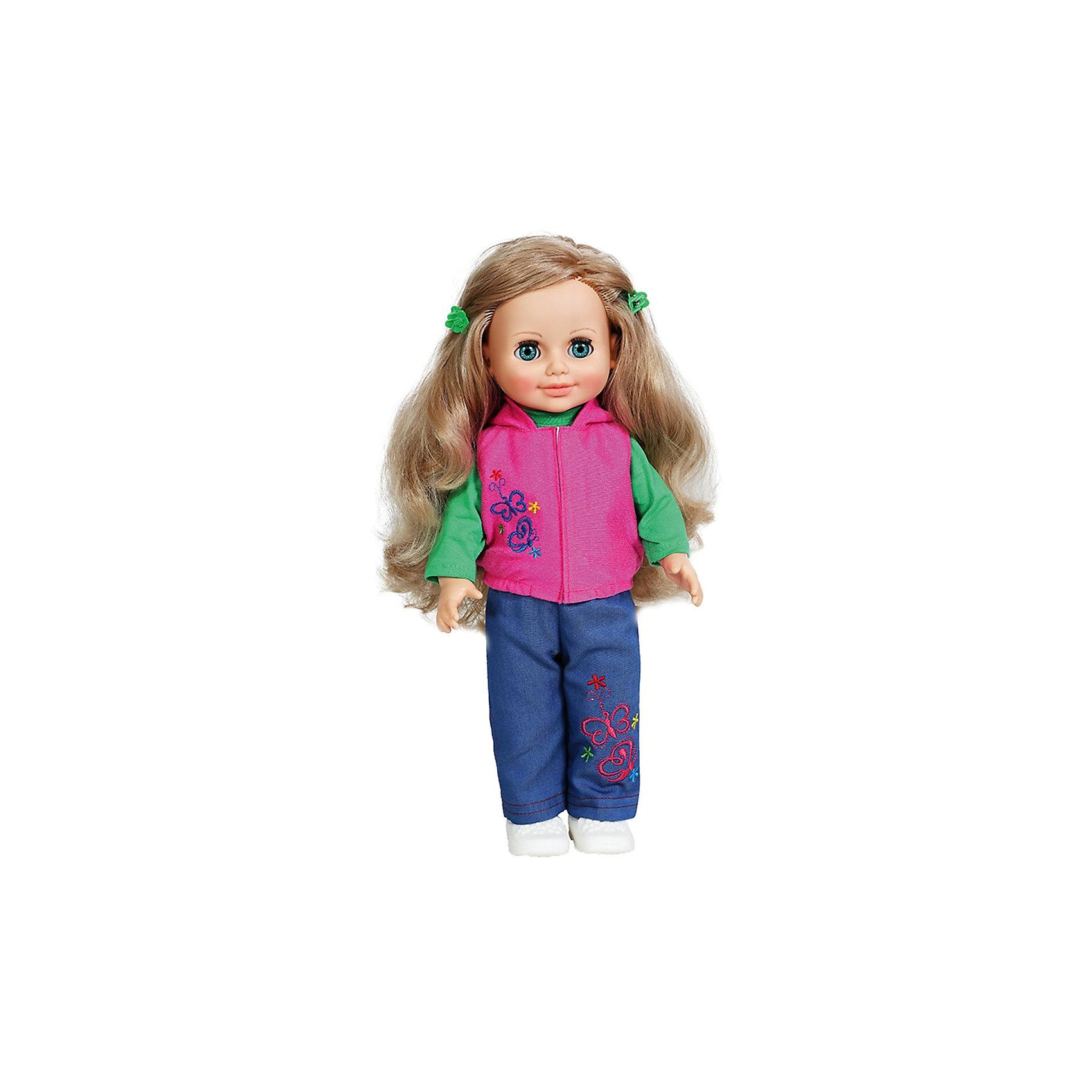 Кукла Анна 6, со звуком, ВеснаКлассические куклы<br>Эта очаровательная белокурая красавица покорит сердце любой девочки! Куколка одета в стильный наряд, состоящий из зеленой водолазки, розовой жилетки и синих брючек. Жилетка и брюки украшены оригинальной вышивкой. Волосы Анны мягкие и послушные, из них получится множество замечательных причесок. Кукла оснащена звуковым модулем, она умеет произносить фразы и предложения, которые не только порадуют девочку, но и помогут ей расширить свой словарный запас, откроют возможности для различных игровых сюжетов. Игрушка выполнена из высококачественных нетоксичных материалов абсолютно безопасных для детей.<br><br>Дополнительная информация:<br><br>- Материал: пластизол, пластик, текстиль.<br>- Размер: 42 см.<br>- Комплектация: кукла в одежде и обуви. <br>- Звуковые эффекты: фразы и предложения. <br>- Голова, руки, ноги подвижные.<br>- Глаза могут закрываться. <br><br>Куклу Анну, со звуком, Весна, можно купить в нашем магазине.<br><br>Ширина мм: 490<br>Глубина мм: 210<br>Высота мм: 130<br>Вес г: 550<br>Возраст от месяцев: 36<br>Возраст до месяцев: 120<br>Пол: Женский<br>Возраст: Детский<br>SKU: 4595146