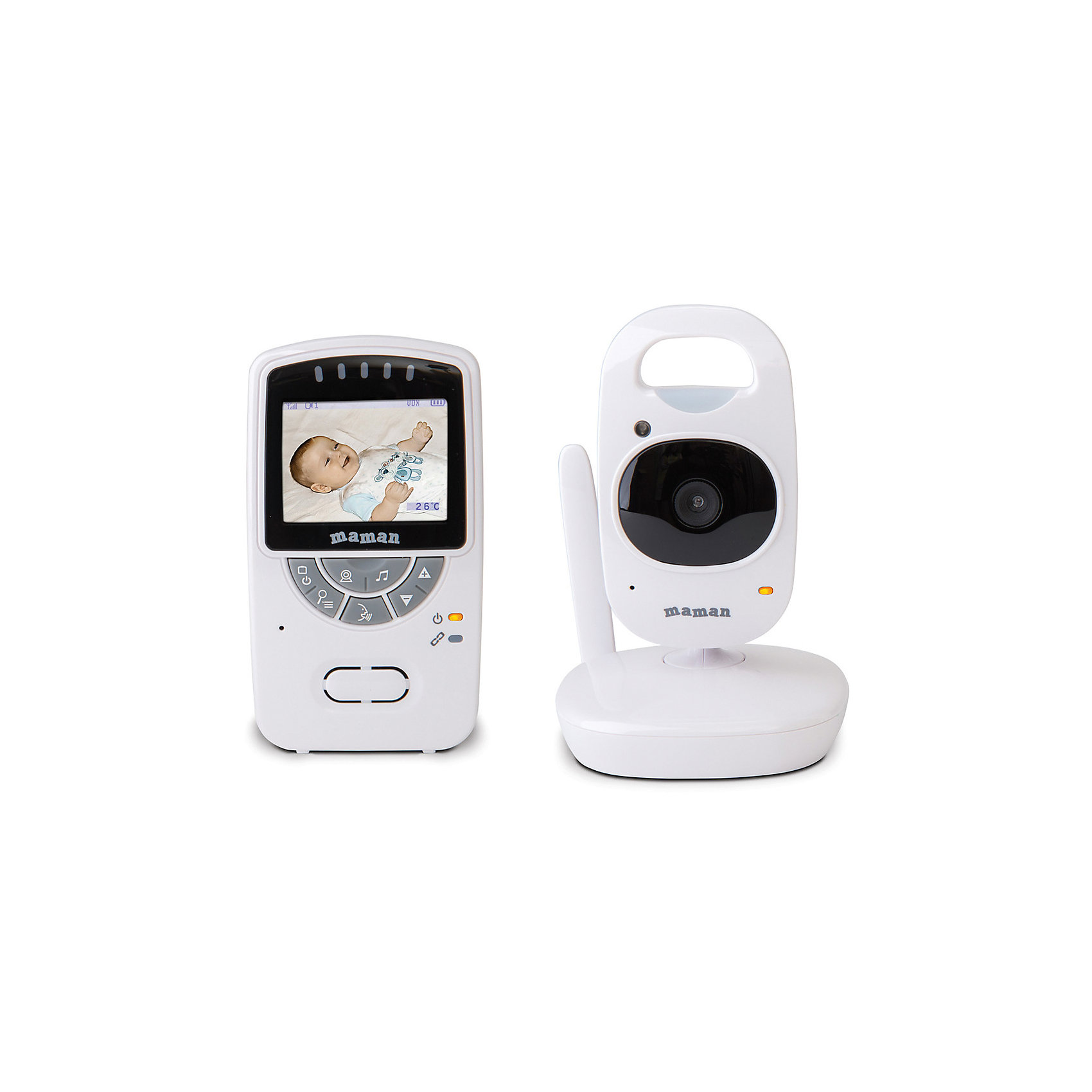 Видеоняня VM5401 MamanБезопасная видеоняня  VM5401 Maman - многофункциональное беспроводное устройство видеонаблюдения, благодаря которому малыш будет находиться под непрерывным контролем днем и ночью. Встроенная система подавления помех позволяет стабильно работать даже в неблагоприятных для связи условиях, легко справляясь с преградами в виде стен и прочими помехами. Цветной дисплей с диагональю 2,4 и 2-кратное приближение изображения позволяют увидеть даже малейшие изменения в поведении и состоянии ребенка. В устройство встроены ночник с дистанционным включением, термометр, колыбельные мелодии и обратная связь, функция ночного видения и вибросигнал. Предусмотрена работа от автономных источников питания на случай внезапного отключения электричества или для работы в условиях отсутствия возможности подключить устройство к сети. Видеоняня VM5401 Maman - прекрасный вариант для малышей и их родителей! <br><br>Дополнительная информация:<br><br>- Материал: пластик, металл.<br>- Размер: <br>- Радиус действия в помещении: 300 м<br>- Диагональ дисплея: 2.4<br>- 2-кратное приближение изображения. <br>- Инфракрасные диоды: 6 шт <br>- Рабочая частота: 2,4 Гц.<br>- Индикация родительского блока: температура.<br>- Масштабирование изображения. <br>- Вибросигнал.<br>- Система ИК ночного видения.<br>- Двусторонняя связь.<br>- Колыбельные мелодии<br>- Ночник.<br>- Термометр.<br>- Клипса для крепления к ремню.<br>- Регулировка яркости.<br>- Питание детского блока: от сети 220В; сменный батарея (не входит в комплект).<br>Питание родительского блока: от сети 220В; сменный аккумулятор (не входит в комплект).<br>- Время автономной работы: 8 ч.<br>- Комплектация: камера (детский блок) - 1 шт, монитор (родительский блок) - 1 шт, аккумуляторная батарейка для монитора - 1 шт, подставка с адаптером для зарядки монитора - 1 шт, сетевой адаптер для камеры - 1 шт, руководство пользователя - 1 шт.<br><br>Видеоняня VM5401 Maman (Маман) можно купить в нашем магазине.<br><br>Ширина мм: 100<br>Глубин