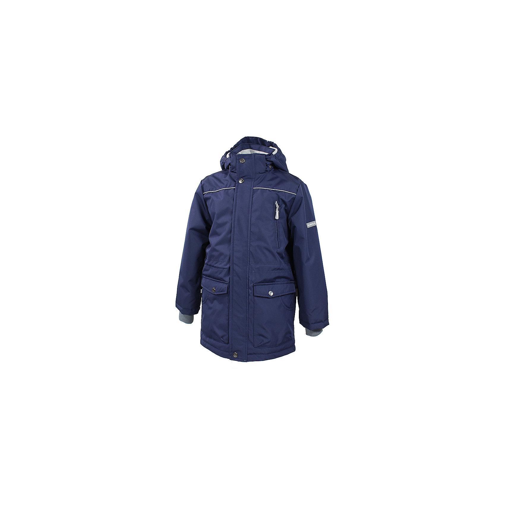 Куртка для мальчика HuppaHuppaTherm 40 грамм<br>Высокотехнологичный лёгкий синтетический утеплитель нового поколения, сохраняет объём и высокую теплоизоляцию изделия, а также легко стирается и быстро сохнет.<br><br>Влагоустойчивая и дышащая ткань 10 000/ 10 000<br>Мембрана препятствует прохождению воды и ветра сквозь ткань внутрь изделия, позволяя испаряться выделяемой телом, образовывающейся внутри влаге.<br><br>Проклеенные швы<br>Для максимальной влагонепроницаемости изделия, важнейшие швы проклеены водостойкой лентой.<br><br>Прочная ткань<br>Сплетения волокон в тканях выполнены по специальной технологии, которая придаёт ткани прочность и предохранят от истирания.<br><br>Светоотражательные детали<br>При плохих погодных условиях или в темноте, когда свет падает на одежду, он отражается, делая ребёнка более заметным, уменьшая возможность несчастных случаев.<br><br>Дополнительная информация:<br><br>Температурный режим: от 0 до +10 С<br>Ткань: 100% полиэстер<br>Подкладка: тафта - 100% полиэстер, флис - 100% полиэстер<br>Утеплитель: 100% полиэстер 40г.<br>Внутренний карман<br>Плечевые швы проклеены<br><br>Куртку для мальчика Huppa можно купить в нашем магазине.<br><br>Ширина мм: 356<br>Глубина мм: 10<br>Высота мм: 245<br>Вес г: 519<br>Цвет: синий<br>Возраст от месяцев: 60<br>Возраст до месяцев: 72<br>Пол: Мужской<br>Возраст: Детский<br>Размер: 116,134,110,104,122,128,140<br>SKU: 4595355
