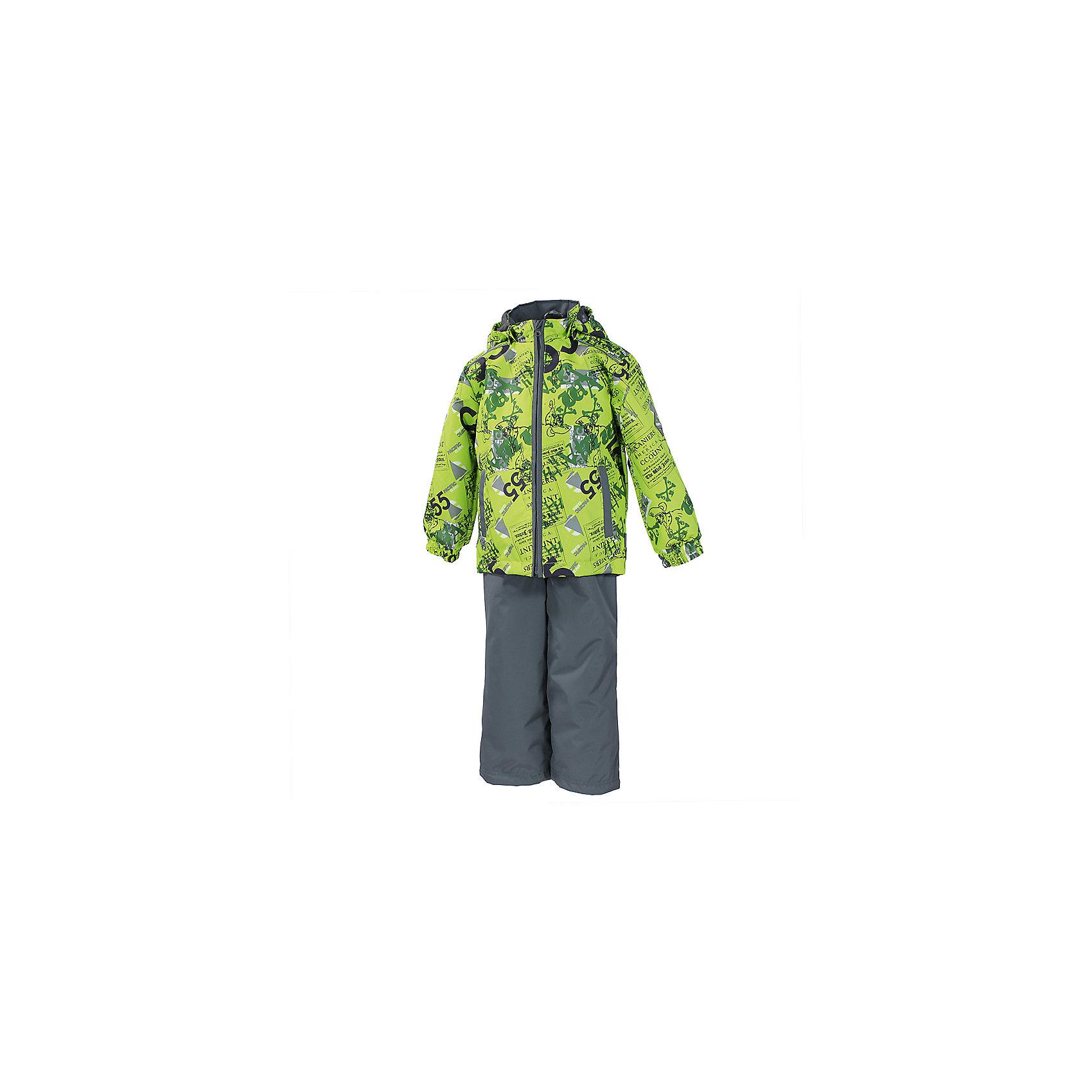 Комплект: куртка и брюки для мальчика HuppaHuppaTherm 40 грамм<br>Высокотехнологичный лёгкий синтетический утеплитель нового поколения, сохраняет объём и высокую теплоизоляцию изделия, а также легко стирается и быстро сохнет.<br><br>HuppaTherm 100 грамм<br>Высокотехнологичный лёгкий синтетический утеплитель нового поколения, сохраняет объём и высокую теплоизоляцию изделия, а также легко стирается и быстро сохнет.<br><br>Влагоустойчивая и дышащая ткань 10 000/ 10 000<br>Мембрана препятствует прохождению воды и ветра сквозь ткань внутрь изделия, позволяя испаряться выделяемой телом, образовывающейся внутри влаге.<br><br>Проклеенные швы<br>Для максимальной влагонепроницаемости изделия, важнейшие швы проклеены водостойкой лентой.<br><br>Прочная ткань<br>Сплетения волокон в тканях выполнены по специальной технологии, которая придаёт ткани прочность и предохранят от истирания.<br><br>Светоотражательные детали<br>При плохих погодных условиях или в темноте, когда свет падает на одежду, он отражается, делая ребёнка более заметным, уменьшая возможность несчастных случаев.<br><br>Дополнительная информация:<br><br>Температурный режим: Куртка: от 0 до +10 С, полукомбинезон: Температурный режим: от -5  до +5 С<br>Ткань: 100% полиэстер<br>Подкладка: тафта - 100% полиэстер<br>Утеплитель: 100% полиэстер: куртка 100г., полукомбинезон 40г.<br>Шаговый шов проклеен<br><br>Комплект: куртка и брюки для мальчика Huppa можно купить в нашем магазине.<br><br>Ширина мм: 356<br>Глубина мм: 10<br>Высота мм: 245<br>Вес г: 519<br>Цвет: желтый<br>Возраст от месяцев: 18<br>Возраст до месяцев: 24<br>Пол: Мужской<br>Возраст: Детский<br>Размер: 92,116,104,128,122,134,98,110<br>SKU: 4595558