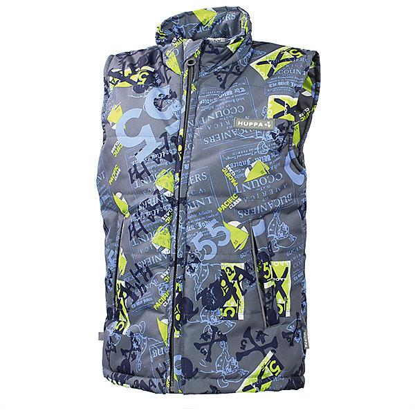 Жилет для мальчика HuppaВерхняя одежда<br>HuppaTherm 100 грамм<br>Высокотехнологичный лёгкий синтетический утеплитель нового поколения, сохраняет объём и высокую теплоизоляцию изделия, а также легко стирается и быстро сохнет.<br><br>Влагоустойчивая и дышащая ткань 10 000/ 10 000<br>Мембрана препятствует прохождению воды и ветра сквозь ткань внутрь изделия, позволяя испаряться выделяемой телом, образовывающейся внутри влаге.<br><br>Прочная ткань<br>Сплетения волокон в тканях выполнены по специальной технологии, которая придаёт ткани прочность и предохранят от истирания.<br><br>Светоотражательные детали<br>При плохих погодных условиях или в темноте, когда свет падает на одежду, он отражается, делая ребёнка более заметным, уменьшая возможность несчастных случаев.<br><br>Дополнительная информация:<br><br>Температурный режим: от -5  до +5 С<br>Ткань: 100% полиэстер<br>Подкладка: тафта - 100% полиэстер<br>Утеплитель: 100% полиэстер 120г.<br>Внутренний карман<br><br>Жилет для мальчика Huppa можно купить в нашем магазине.<br><br>Ширина мм: 356<br>Глубина мм: 10<br>Высота мм: 245<br>Вес г: 519<br>Цвет: серый<br>Возраст от месяцев: 60<br>Возраст до месяцев: 72<br>Пол: Мужской<br>Возраст: Детский<br>Размер: 140,128,122,104,110,134,116<br>SKU: 4595611