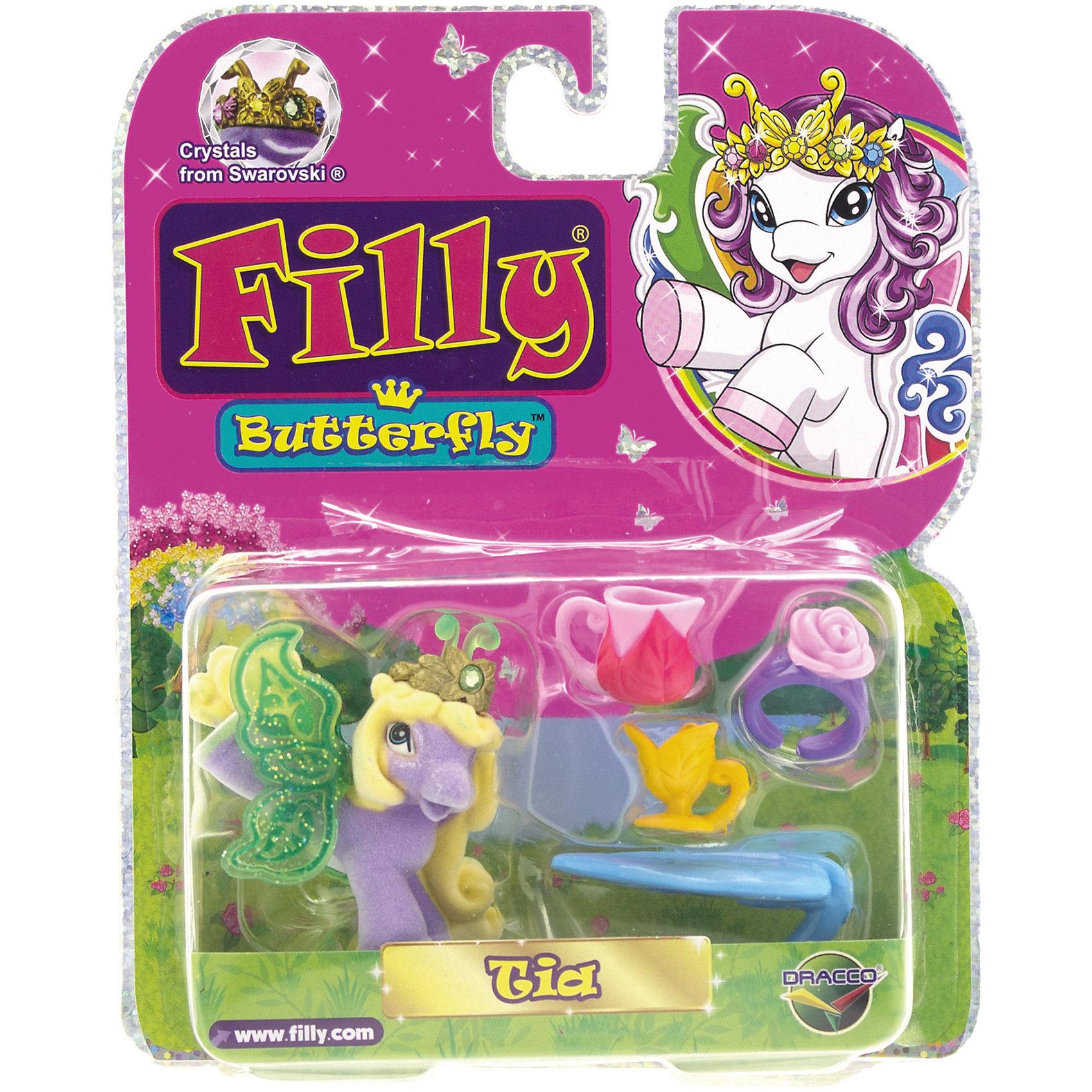 Бабочка с аксессуарами Tia, Filly, DraccoКоллекционные и игровые фигурки<br>Лошадки-бабочки Filly (Филли) живут в сказочном саду внутри волшебного леса Папиллия. Аккуратные, бархатистые наощупь фигурки приведут в восторг любую девочку и займут достойное место в ее коллекции лошадок. <br>В яркой подарочной упаковке спряталась фигурка лошадки и аксессуары для украшения и декорирования игрушки и ее окружения. Вместе с каждой лошадкой в упаковке вы найдете карточку персонажа и брошюру с описанием других героев серии Filly Butterfly Glitter. <br>У бабочек-лошадок в диадеме есть настоящий кристалл Swarovski. Собери всех прекрасных бабочек, пусть они ходят друг к другу в гости, дружат, меняются аксессуарами. <br>Игрушки выполнены из высококачественных экологичных материалов безопасных для детей. <br><br>Дополнительная информация:<br><br>- Материал: пластик.<br>- Высота фигурки: 6 см.<br>- Фигурка покрыта бархатистым флоком. <br>- Комплектация: фигурка, 4 уникальных аксессуара, карточка, буклет с описанием других лошадок. <br><br>Игровой набор Бабочка с аксессуарами, Tia, Filly, Dracco, можно купить в нашем магазине.<br><br>Ширина мм: 40<br>Глубина мм: 140<br>Высота мм: 170<br>Вес г: 80<br>Возраст от месяцев: 36<br>Возраст до месяцев: 96<br>Пол: Женский<br>Возраст: Детский<br>SKU: 4596136