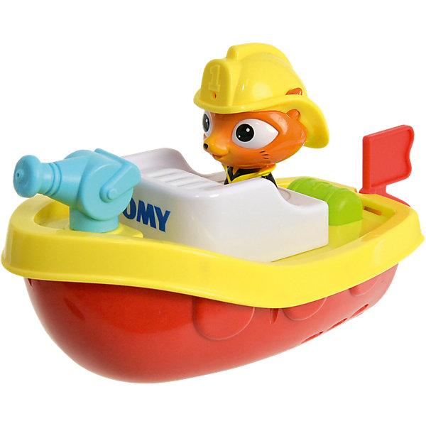 Пожарный катер на пульте д/у, TOMYДинамические игрушки<br>Характеристики пожарного катера на пульте д/у<br><br>- возраст: от 12 месяцев<br>- пол: для мальчиков и девочек<br>- комплект: катер, пульт управления.<br>- наличие батареек: входят в комплект.<br>- тип батареек: 3 х AAA / LR0.3 1.5V (мизинчиковые).<br>- материал: пластик, металл.<br>- размер упаковки: 21 * 29 * 13 см.<br>- упаковка: картонная коробка открытого типа.<br>- размер катера: 18 * 18 * 21 см.<br>- страна обладатель бренда: Великобритания.<br><br>Капитан Кот от компании Tomy - это невероятная игрушка на дистанционном управлении,представляющая из себя пожарный катер, которым управляет симпатичный кот в каске. Игрушка предназначена для игр в воде, пульт водонепроницаем, поэтому можно не опасаться за то, что на него попадет вода. Пожарный катер способен превратить скучное принятие ванной в целое развлечение для ребенка. Помимо того, что катер действительно может плыть по воде, а ребенок может управляет его движением дистанционно, катер еще и может стрелять водой из небольшого водомета.<br><br>Пожарный катер на пульте д/у торговой марки Tomy (Томи) можно купить в нашем интернет-магазине.<br>Ширина мм: 295; Глубина мм: 213; Высота мм: 137; Вес г: 523; Возраст от месяцев: 10; Возраст до месяцев: 36; Пол: Унисекс; Возраст: Детский; SKU: 4599022;
