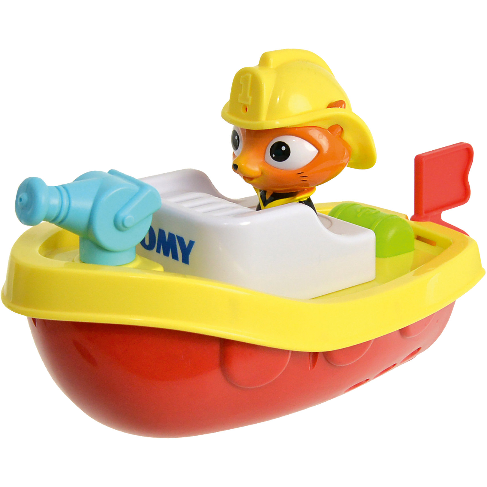 Пожарный катер на пульте д/у, TOMYИгрушки для ванной<br>Характеристики пожарного катера на пульте д/у<br><br>- возраст: от 12 месяцев<br>- пол: для мальчиков и девочек<br>- комплект: катер, пульт управления.<br>- наличие батареек: входят в комплект.<br>- тип батареек: 3 х AAA / LR0.3 1.5V (мизинчиковые).<br>- материал: пластик, металл.<br>- размер упаковки: 21 * 29 * 13 см.<br>- упаковка: картонная коробка открытого типа.<br>- размер катера: 18 * 18 * 21 см.<br>- страна обладатель бренда: Великобритания.<br><br>Капитан Кот от компании Tomy - это невероятная игрушка на дистанционном управлении,представляющая из себя пожарный катер, которым управляет симпатичный кот в каске. Игрушка предназначена для игр в воде, пульт водонепроницаем, поэтому можно не опасаться за то, что на него попадет вода. Пожарный катер способен превратить скучное принятие ванной в целое развлечение для ребенка. Помимо того, что катер действительно может плыть по воде, а ребенок может управляет его движением дистанционно, катер еще и может стрелять водой из небольшого водомета.<br><br>Пожарный катер на пульте д/у торговой марки Tomy (Томи) можно купить в нашем интернет-магазине.<br><br>Ширина мм: 313<br>Глубина мм: 215<br>Высота мм: 137<br>Вес г: 529<br>Возраст от месяцев: 10<br>Возраст до месяцев: 36<br>Пол: Унисекс<br>Возраст: Детский<br>SKU: 4599022