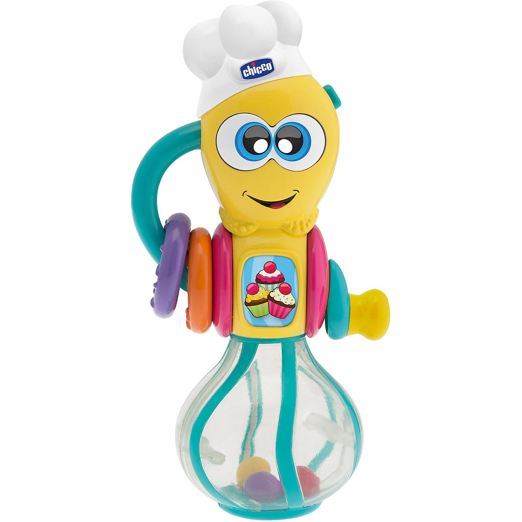 Музыкальная игрушка Мутовка, CHICCOПогремушки<br>Музыкальная игрушка Мутовка, CHICCO (Чикко).<br><br>Характеристики:<br><br>• Размер:19х17х9см.<br>• Вес: 250г.<br><br>Каждый день приносит малышам что - то новое и интересное. «Мутовка» Chicco (Чикко)– забавный поваренок. Такая игрушка, несомненно, привлечет внимание вашего крохи. Лампочки сияют, а цветные шарики вращаются при повороте ручки. Такая электронная игрушка развлечёт и позабавит малыша, а также способствует развитию мелкой моторики рук, цветового восприятия и координации движений. Батарейки входят в комплект с игрушкой.<br><br>Музыкальную игрушку Мутовка, CHICCO (Чикко) можно купить в нашем интернет-магазине.<br><br>Ширина мм: 199<br>Глубина мм: 99<br>Высота мм: 210<br>Вес г: 274<br>Возраст от месяцев: 6<br>Возраст до месяцев: 36<br>Пол: Унисекс<br>Возраст: Детский<br>SKU: 4600065