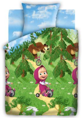 Детское постельное белье 1,5 сп. Непоседа, Маша и Медведь Велогонка