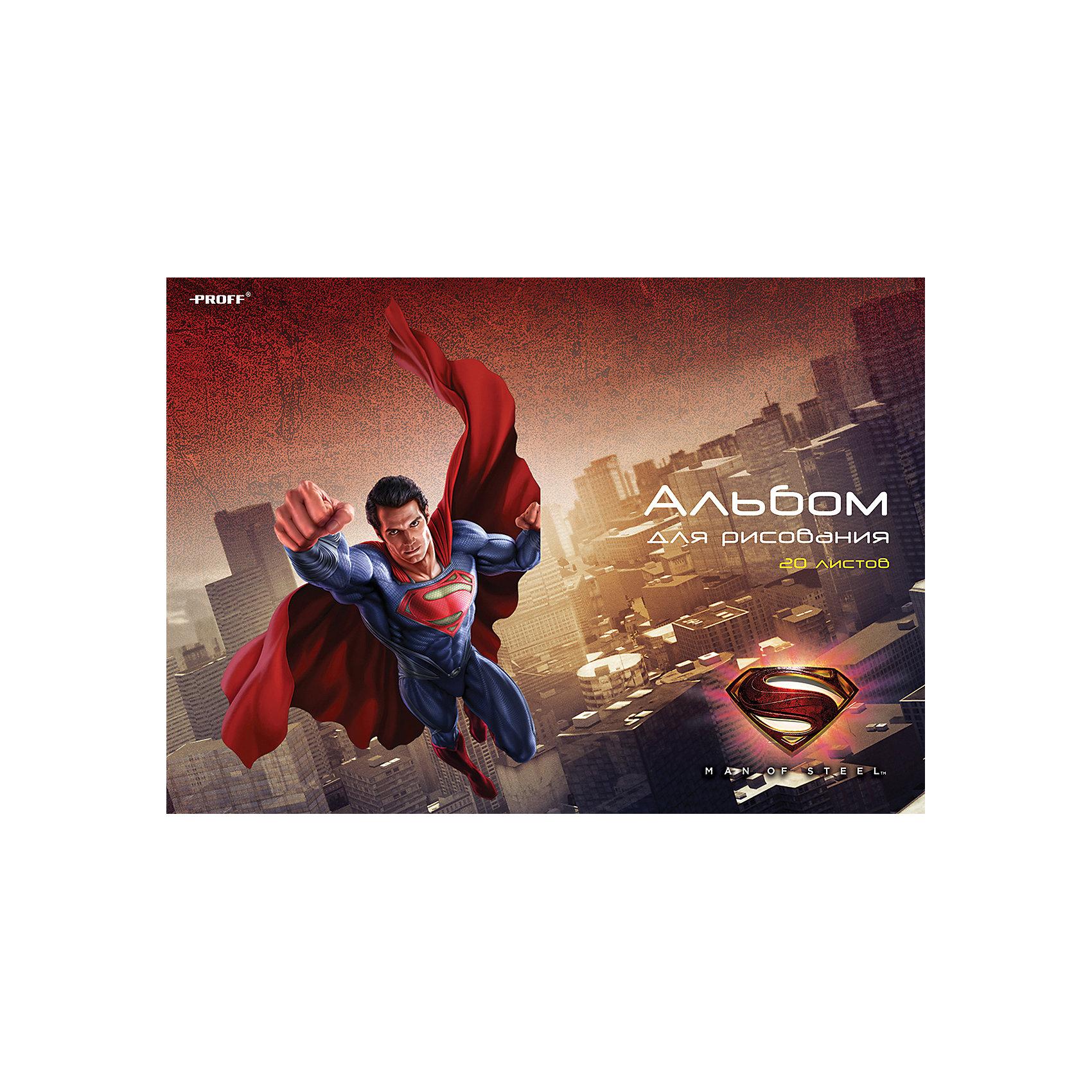 Альбом для рисования Супермен, 20 листовРисование - один из любимых видов детского творчества, которое развивает у ребенка воображение, творческое мышление, зрительную память и цветовое восприятие, а красочно оформленный альбом сделает творческий процесс еще интереснее и привлекательнее. Альбом для рисования Супермен (Superman) выполнен по мотивам популярных фильмов и комиксов и украшен изображением знаменитого персонажа. Бумага альбома отличается высокой прочностью и подходит для рисования акварелью, гуашью, карандашами и фломастерами. Обложка выполнена из мелованного картона. Крепление - скрепка.<br><br>Дополнительная информация:<br><br>- Материал: бумага, картон. <br>- Объем: 20 л.<br>- Формат: А4.<br>- Размер: 29 х 20 х 0,2 см.<br>- Вес: 110 гр.<br><br>Альбом для рисования Супермен (Superman), 20 листов, можно купить в нашем интернет-магазине.<br><br>Ширина мм: 290<br>Глубина мм: 10<br>Высота мм: 200<br>Вес г: 110<br>Возраст от месяцев: 60<br>Возраст до месяцев: 144<br>Пол: Мужской<br>Возраст: Детский<br>SKU: 4601754