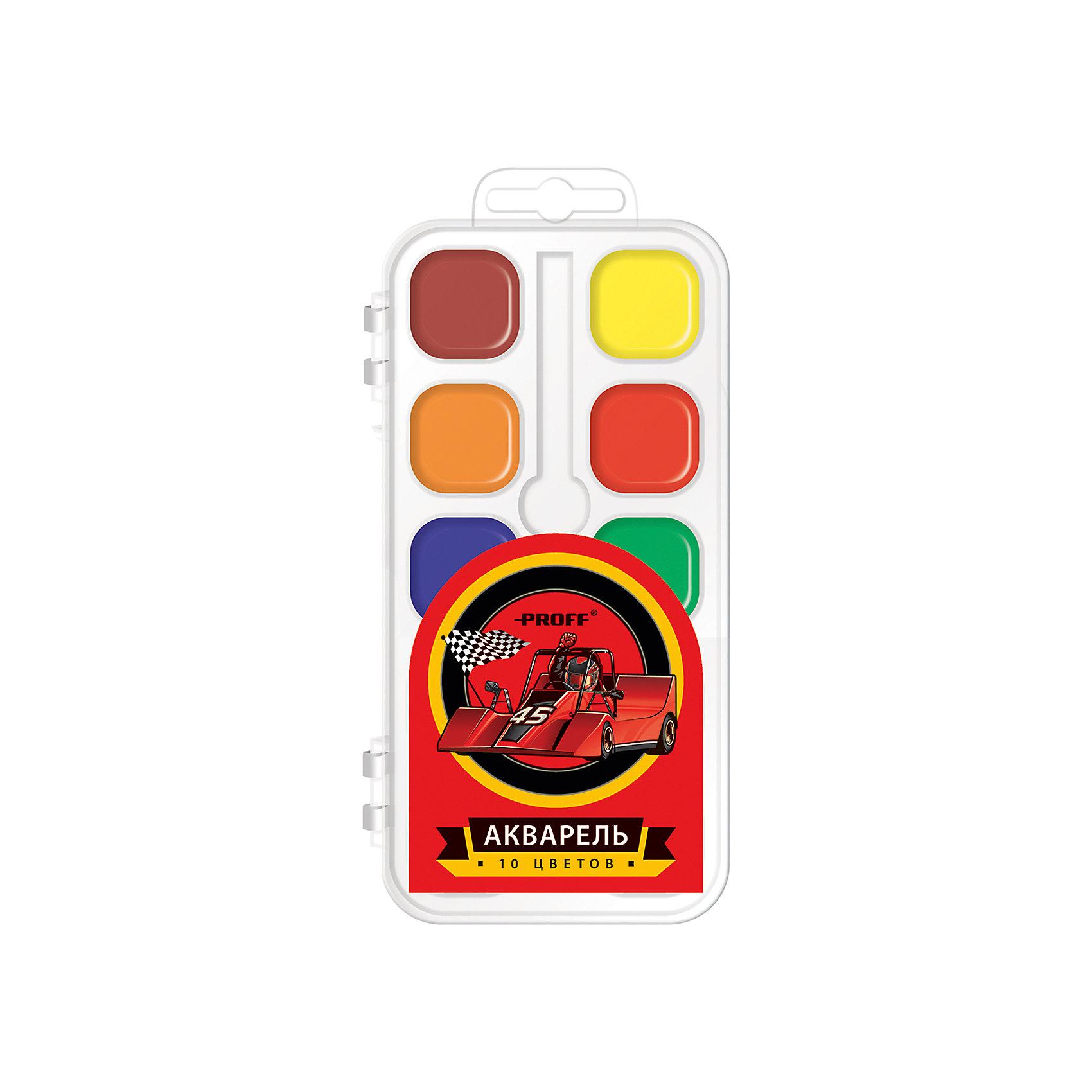 Краски акварельные медовые Racing, 10 цветовАкварельные краски Racing, Proff, хорошо подойдут как для школьных занятий так и для детского творчества в свободное время. В наборе 10 акварельных медовых красок, упакованных в пластиковую коробочку-контейнер с изображением гоночного автомобиля. Краски легко размываются, создавая прозрачный цветной слой, легко смешиваются между собой, не крошатся и не смазываются, быстро сохнут. Кисточка в комплект не входит.<br><br>Дополнительная информация:<br><br>- В комплекте: 10 цветов.<br>- Размер упаковки: 15 х 2 х 8 см.<br>- Вес: 60 гр.<br><br>Краски акварельные медовые Racing, 10 цветов, Proff, можно купить в нашем интернет-магазине.<br><br>Ширина мм: 150<br>Глубина мм: 20<br>Высота мм: 80<br>Вес г: 60<br>Возраст от месяцев: 72<br>Возраст до месяцев: 144<br>Пол: Мужской<br>Возраст: Детский<br>SKU: 4601772