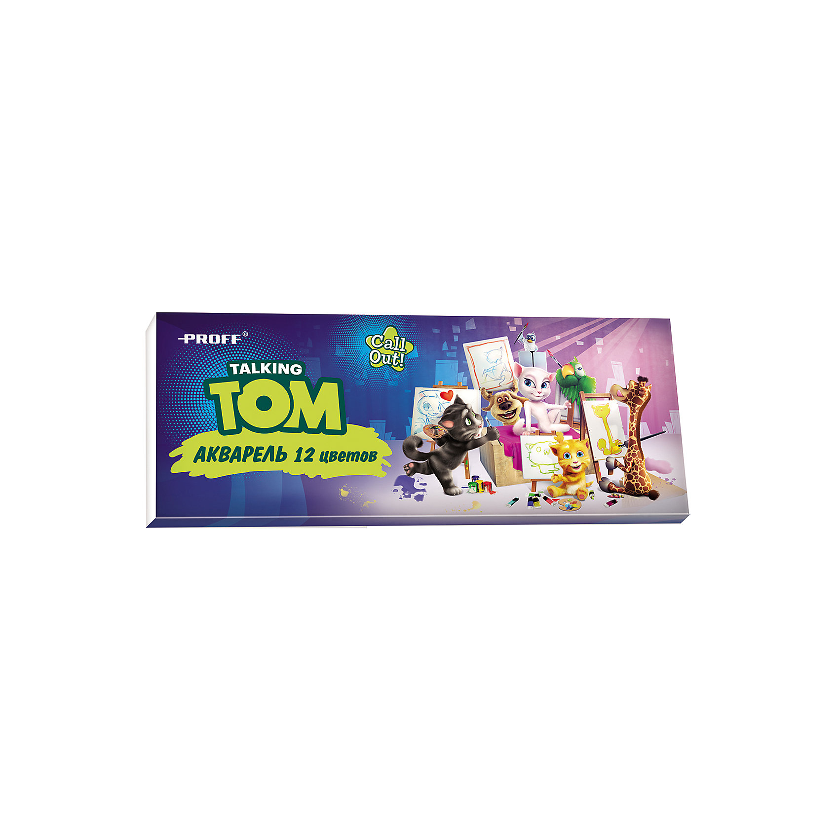 Краски акварельные медовые Говорящий Том,  12 цветовАкварельные краски Говорящий Том, Proff, хорошо подойдут как для школьных занятий так и для детского творчества в свободное время. В наборе 12 акварельных медовых красок, упакованных в пластиковую коробочку-контейнер с изображением забавного кота из популярной компьютерной игры. Краски легко размываются, создавая прозрачный цветной слой, легко смешиваются между собой, не крошатся и не смазываются, быстро сохнут. Кисточка в комплект не входит.<br><br>Дополнительная информация:<br><br>- В комплекте: 12 цветов.<br>- Размер упаковки: 17 х 1 х 7 см.<br>- Вес: 60 гр.<br><br>Краски акварельные медовые Говорящий Том, 12 цветов, Proff, можно купить в нашем интернет-магазине.<br><br>Ширина мм: 170<br>Глубина мм: 10<br>Высота мм: 70<br>Вес г: 60<br>Возраст от месяцев: 72<br>Возраст до месяцев: 144<br>Пол: Унисекс<br>Возраст: Детский<br>SKU: 4601774