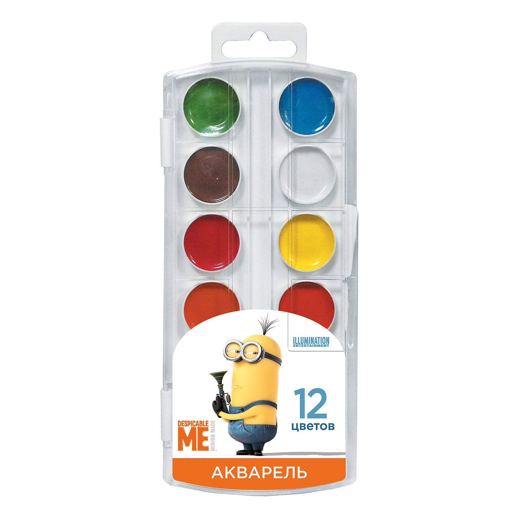 Акварель Гадкий Я 12 цветовМиньоны<br>В наборе акварельных красок «Гадкий Я» 12 насыщенных цветов, которые помогут вашему малышу создать яркие картинки. Краски идеально подходят для рисования: они хорошо размываются водой, легко наносятся на поверхность, быстро сохнут, безопасны при использовании по назначению. <br><br>Дополнительная информация:<br><br>Состав: вода питьевая, декстрин, глицерин, сахар, органические и неорганические тонкодисперсные пигменты, консервант, наполнитель.<br>Не содержит спирта. <br>Срок годности не ограничен.<br>Размер упаковки: 8,5х19,7х1,2 см.<br><br>Акварель Гадкий Я 12 цветов можно купить в нашем магазине.<br><br>Ширина мм: 195<br>Глубина мм: 80<br>Высота мм: 10<br>Вес г: 80<br>Возраст от месяцев: 36<br>Возраст до месяцев: 108<br>Пол: Унисекс<br>Возраст: Детский<br>SKU: 4602315