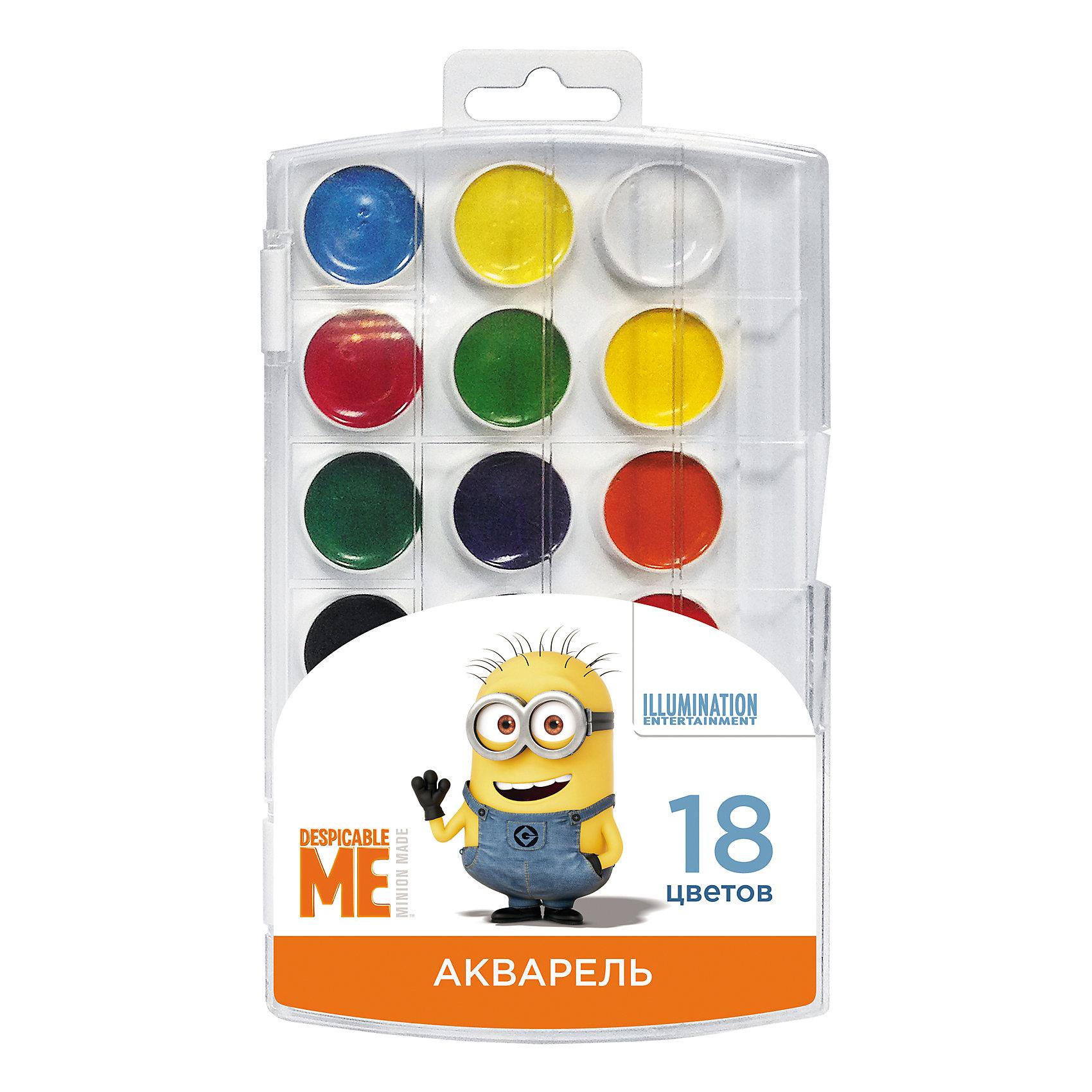 Акварель Гадкий Я 18 цветовВ наборе акварельных красок «Гадкий Я» 18 насыщенных цветов, которые помогут вашему малышу создать яркие картинки. Краски идеально подходят для рисования: они хорошо размываются водой, легко наносятся на поверхность, быстро сохнут, безопасны при использовании по назначению.<br><br>Дополнительная информация:<br><br>Состав: вода питьевая, декстрин, глицерин, сахар, органические и неорганические тонкодисперсные пигменты, консервант, наполнитель.<br>Не содержит спирта. <br>Срок годности не ограничен.<br>Размер упаковки: 11,5х19,7х1,2 см.<br><br>Акварель Гадкий Я 18 цветов можно купить в нашем магазине.<br><br>Ширина мм: 195<br>Глубина мм: 110<br>Высота мм: 10<br>Вес г: 118<br>Возраст от месяцев: 36<br>Возраст до месяцев: 108<br>Пол: Унисекс<br>Возраст: Детский<br>SKU: 4602316