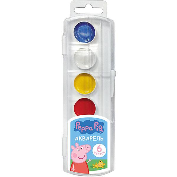 Акварель Свинка Пеппа 6 цветовРаскраски по номерам<br>В наборе акварельных красок «Свинка Пеппа» 6 насыщенных цветов, которые помогут вашей малышке создать яркие картинки. Краски идеально подходят для рисования: они хорошо размываются водой, легко наносятся на поверхность, быстро сохнут, безопасны при использовании по назначению. <br><br>Дополнительная информация:<br><br>Состав: вода питьевая, декстрин, глицерин, сахар, органические и неорганические тонкодисперсные пигменты, консервант, наполнитель. <br>Не содержит спирта. <br>Срок годности не ограничен. <br>Размер упаковки: 6х19,7х1,2 см.<br><br>Акварель Свинка Пеппа (Peppa Pig) 6 цветов можно купить в нашем магазине.<br>Ширина мм: 195; Глубина мм: 55; Высота мм: 10; Вес г: 48; Возраст от месяцев: 36; Возраст до месяцев: 108; Пол: Унисекс; Возраст: Детский; SKU: 4602320;