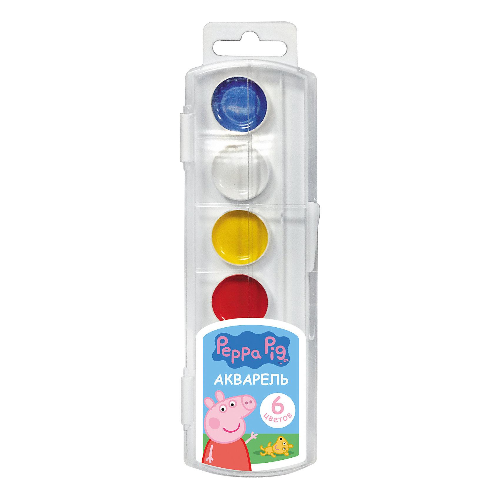 Акварель Свинка Пеппа 6 цветовВ наборе акварельных красок «Свинка Пеппа» 6 насыщенных цветов, которые помогут вашей малышке создать яркие картинки. Краски идеально подходят для рисования: они хорошо размываются водой, легко наносятся на поверхность, быстро сохнут, безопасны при использовании по назначению. <br><br>Дополнительная информация:<br><br>Состав: вода питьевая, декстрин, глицерин, сахар, органические и неорганические тонкодисперсные пигменты, консервант, наполнитель. <br>Не содержит спирта. <br>Срок годности не ограничен. <br>Размер упаковки: 6х19,7х1,2 см.<br><br>Акварель Свинка Пеппа (Peppa Pig) 6 цветов можно купить в нашем магазине.<br><br>Ширина мм: 195<br>Глубина мм: 55<br>Высота мм: 10<br>Вес г: 48<br>Возраст от месяцев: 36<br>Возраст до месяцев: 108<br>Пол: Унисекс<br>Возраст: Детский<br>SKU: 4602320