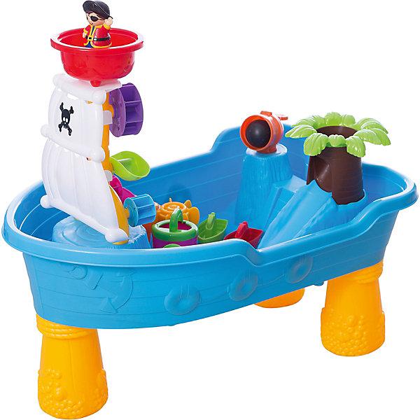 Набор для игры с песком, 12 предметов, Toy TargetИграем в песочнице<br>Набор для игры с песком, Toy Target – этот яркий набор надолго увлечет вашего ребенка.<br>Набор для игры с песком обязательно приведет в восторг вашего кроху. Набор очень легко собирается - нужно лишь прикрутить пластиковые ножки к пиратскому кораблю-столешнице и получится удобное пространство для интересных и полезных игр. Ваш малыш сможет на свой вкус размещать предметы, строить замок, домик, мельницу, ворота и многое другое. Игры с песком не только интересны, они развивают мелкую моторику, тактильные ощущения, фантазию, снимают нервное напряжение. Набор выполнен из высококачественного прочного пластика, легко собирается и разбирается, занимает мало места при хранении и транспортировке; его можно брать с собой на дачу или пикник.<br><br>Дополнительная информация:<br><br>- В комплекте: столешница в виде корабля и 3 ножки; пальма с горочкой (4 детали); водяная (песочная) мельница; лопасти; 2 ворота-загородки; мостик; башни Замка (можно использовать как формочки) и паруса; пушка с бомбой; фигурка пирата и черепашки; черпачок; леечка; 2 кораблика; ведерко<br>- Материал пластмасса<br>- Размер: 60х38х28 см.<br>- Артикул 44006.<br><br>Набор для игры с песком, Toy Target можно купить в нашем интернет-магазине.<br>Ширина мм: 600; Глубина мм: 280; Высота мм: 380; Вес г: 2200; Возраст от месяцев: 36; Возраст до месяцев: 84; Пол: Унисекс; Возраст: Детский; SKU: 4603656;