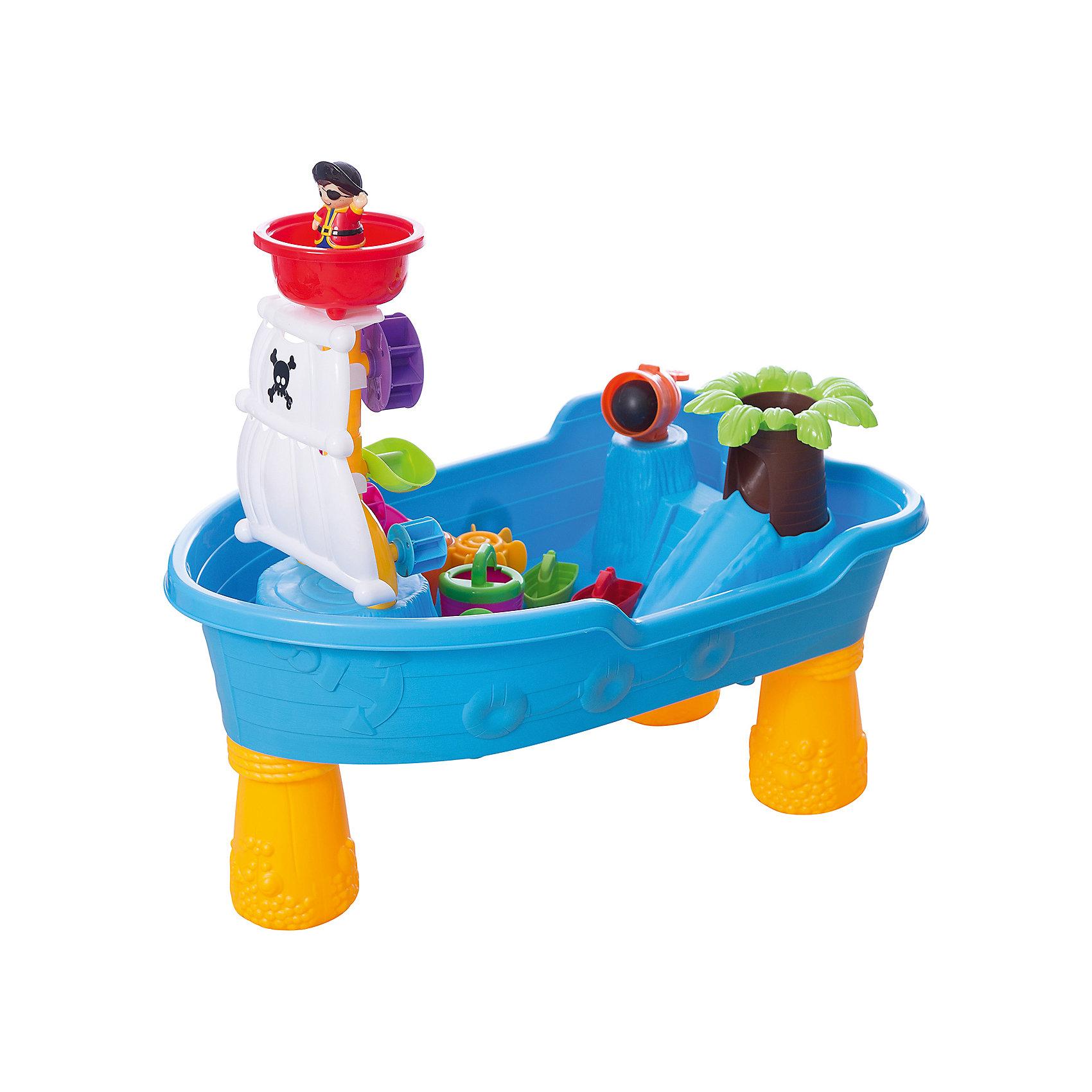 Набор для игры с песком, 12 предметов, Toy TargetНабор для игры с песком, Toy Target – этот яркий набор надолго увлечет вашего ребенка.<br>Набор для игры с песком обязательно приведет в восторг вашего кроху. Набор очень легко собирается - нужно лишь прикрутить пластиковые ножки к пиратскому кораблю-столешнице и получится удобное пространство для интересных и полезных игр. Ваш малыш сможет на свой вкус размещать предметы, строить замок, домик, мельницу, ворота и многое другое. Игры с песком не только интересны, они развивают мелкую моторику, тактильные ощущения, фантазию, снимают нервное напряжение. Набор выполнен из высококачественного прочного пластика, легко собирается и разбирается, занимает мало места при хранении и транспортировке; его можно брать с собой на дачу или пикник.<br><br>Дополнительная информация:<br><br>- В комплекте: столешница в виде корабля и 3 ножки; пальма с горочкой (4 детали); водяная (песочная) мельница; лопасти; 2 ворота-загородки; мостик; башни Замка (можно использовать как формочки) и паруса; пушка с бомбой; фигурка пирата и черепашки; черпачок; леечка; 2 кораблика; ведерко<br>- Материал пластмасса<br>- Размер: 60х38х28 см.<br>- Артикул 44006.<br><br>Набор для игры с песком, Toy Target можно купить в нашем интернет-магазине.<br><br>Ширина мм: 600<br>Глубина мм: 280<br>Высота мм: 380<br>Вес г: 2200<br>Возраст от месяцев: 36<br>Возраст до месяцев: 84<br>Пол: Унисекс<br>Возраст: Детский<br>SKU: 4603656