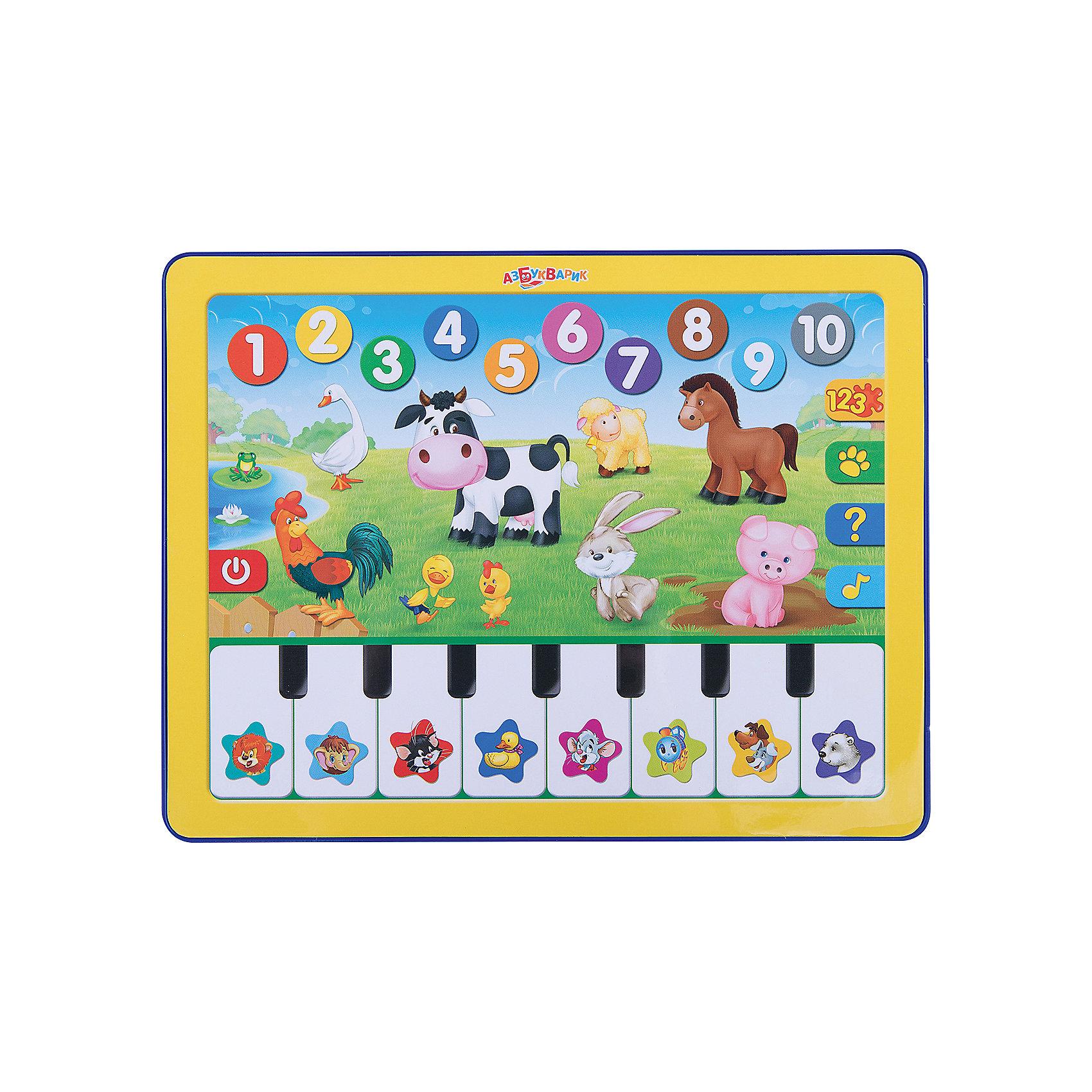 Планшет Веселая радуга с пианиноДругие музыкальные инструменты<br>Дети обожают гаджеты и электронные игрушки. Игровой планшетик с пианино приведет в восторг малыша и надолго займет маленького непоседу. Нажимая на яркие картинки, ребёнок выучит цифры и цвета, познакомится с животными фермы, отгадает загадки. На клавишах пианино не только звуки, но и песенки мультяшек!<br>Игрушка выполнена из высококачественного нетоксичного пластика безопасного для детей. <br><br>Дополнительная информация:<br><br>- Материал: пластик.<br>- Формат: 24х18,5 см.<br>- 8 песенок.<br>- Веселые игры.<br>- Цвета, животные фермы, цифры.<br>- Элемент питания: батарейки AAA (UM4 or LR03) (в комплекте).<br><br>Планшет Веселая радуга, с пианино, можно купить в нашем магазине.<br><br>Ширина мм: 190<br>Глубина мм: 200<br>Высота мм: 20<br>Вес г: 275<br>Возраст от месяцев: 12<br>Возраст до месяцев: 36<br>Пол: Унисекс<br>Возраст: Детский<br>SKU: 4603658