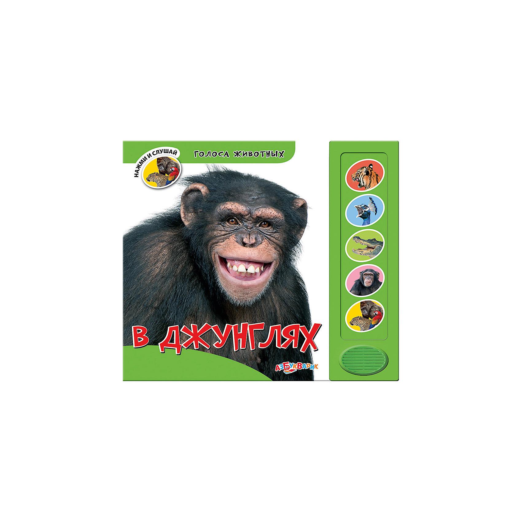 В джунгляхМузыкальные книги<br>Эта замечательная книга познакомит ребенка с удивительным миром джунглей: малыш узнает о тигре, крокодиле, обезьяне и других обитателях тропических лесов. Нажимай на кнопочки, чтобы послушать голоса животных и рассматривай яркие красочные иллюстрации. <br><br>Дополнительная информация:<br>  <br>- Переплет: картон.<br>- Формат: 21х17,5 см.<br>- Количество страниц: 14.<br>- Иллюстрации: цветные. <br>- Элемент питания: батарейки AG13/LR44 (в комплекте).<br><br>Книгу В джунглях можно купить в нашем магазине.<br><br>Ширина мм: 200<br>Глубина мм: 150<br>Высота мм: 20<br>Вес г: 285<br>Возраст от месяцев: 24<br>Возраст до месяцев: 60<br>Пол: Унисекс<br>Возраст: Детский<br>SKU: 4603748