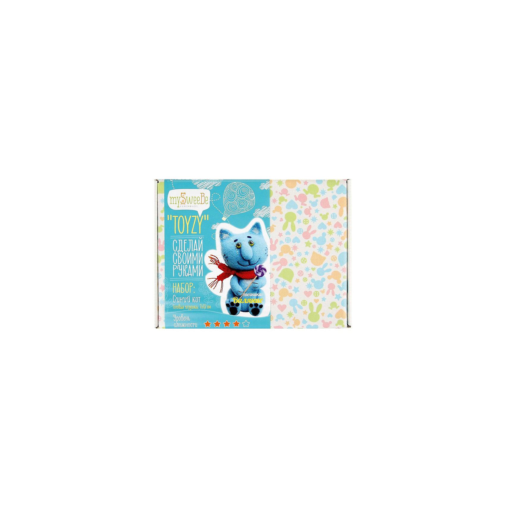 Набор для валяния Синий котЭтот замечательный набор позволит создать милую мягкую игрушку в оригинальной технике валяния. Получившийся очаровательный кот станет любимой игрушкой ребенка или же прекрасным памятным подарком, сделанным своими руками. В наборе есть все необходимое, осталось добавить немного терпения и фантазии - и уникальная игрушка готова! Все инструменты и материалы, входящие в набор, являются натуральными и высококачественными, а значит, безопасными для детей. Валяние - прекрасный вид детского досуга, который успокоит нервную систему, поможет развить внимание, усидчивость и мелкую моторику. <br><br>Дополнительная информация:<br><br>- Материал: шерсть, пластик.<br>- Размер: 25х19х6 см.<br>- Размер игрушки: 6х11 см. <br>- Комплектация: инструкция, иглы для валяния, шерсть, акриловая краска, кисть, суперклей, пряжа, нитки, леска, полимерная глина, шило, ватная палочка, большая игла для шитья, спицы, зубочистка.<br><br>Набор для валяния Синий кот можно купить в нашем магазине.<br><br>Ширина мм: 180<br>Глубина мм: 240<br>Высота мм: 50<br>Вес г: 260<br>Возраст от месяцев: 84<br>Возраст до месяцев: 192<br>Пол: Унисекс<br>Возраст: Детский<br>SKU: 4603773